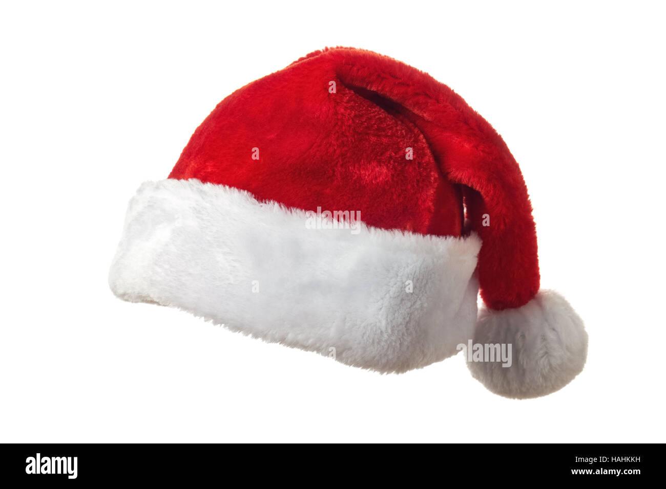 Weihnachtsmütze auf weiß Stockfoto