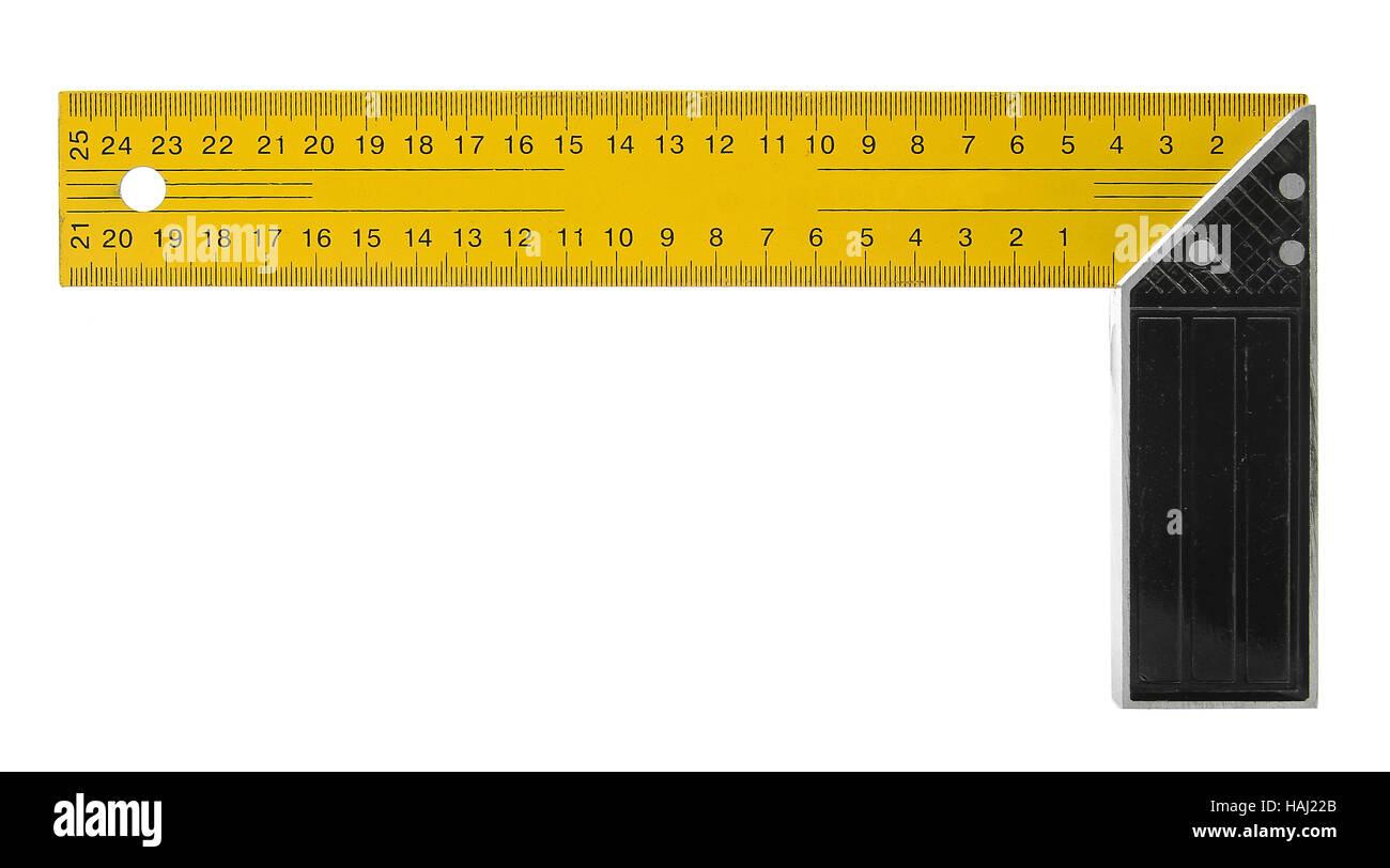 rechten winkel quadratische werkzeug isoliert auf weiss stockfoto