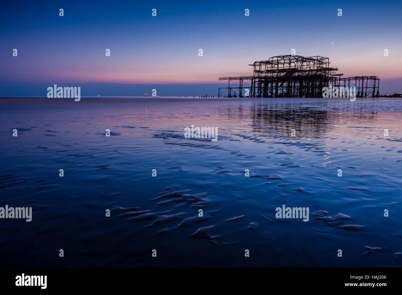 Blaue Stunde am Pier West Stockbild