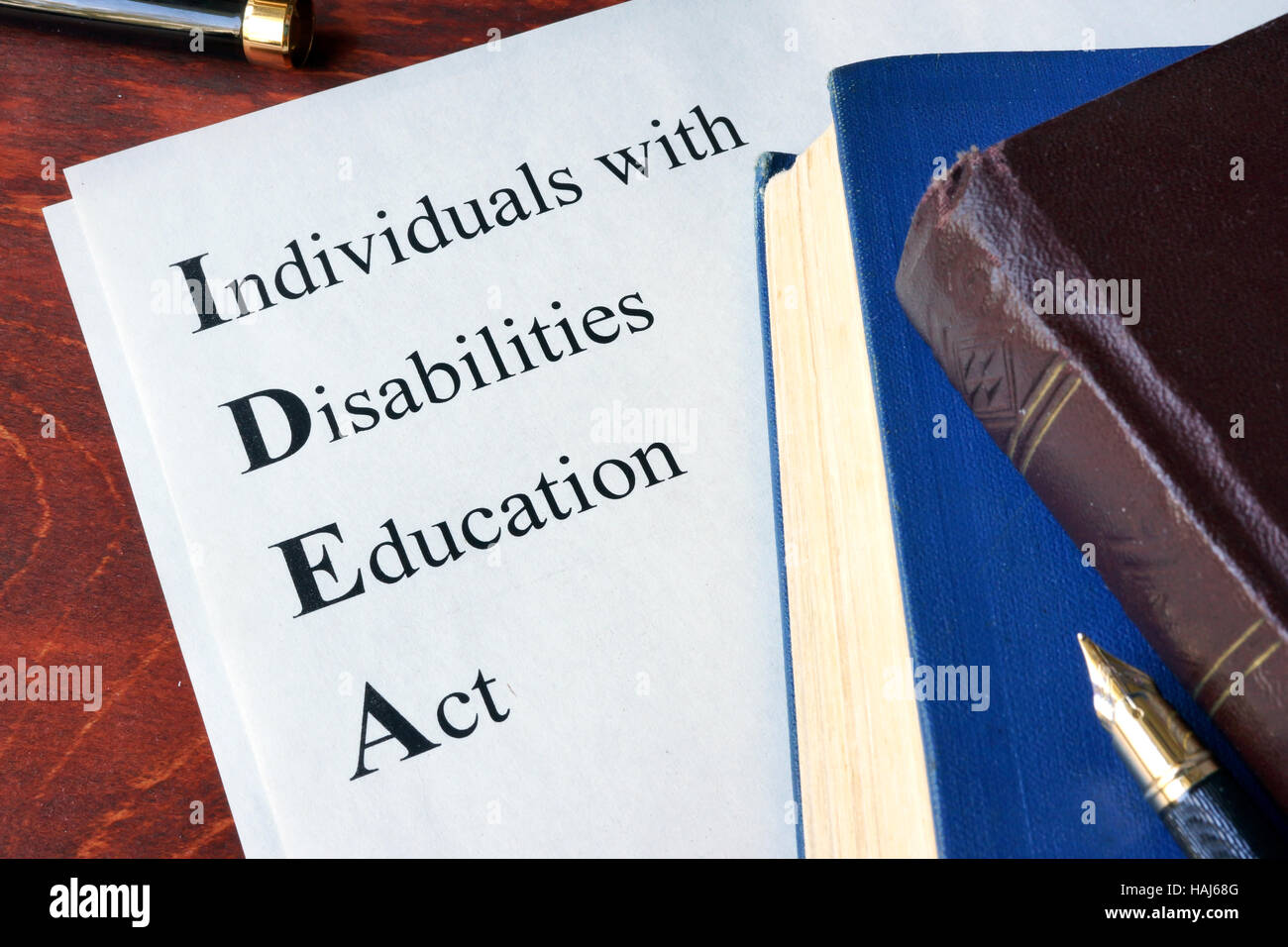 Papier mit Titel Personen mit Behinderungen Education Act (IDEA) Stockbild