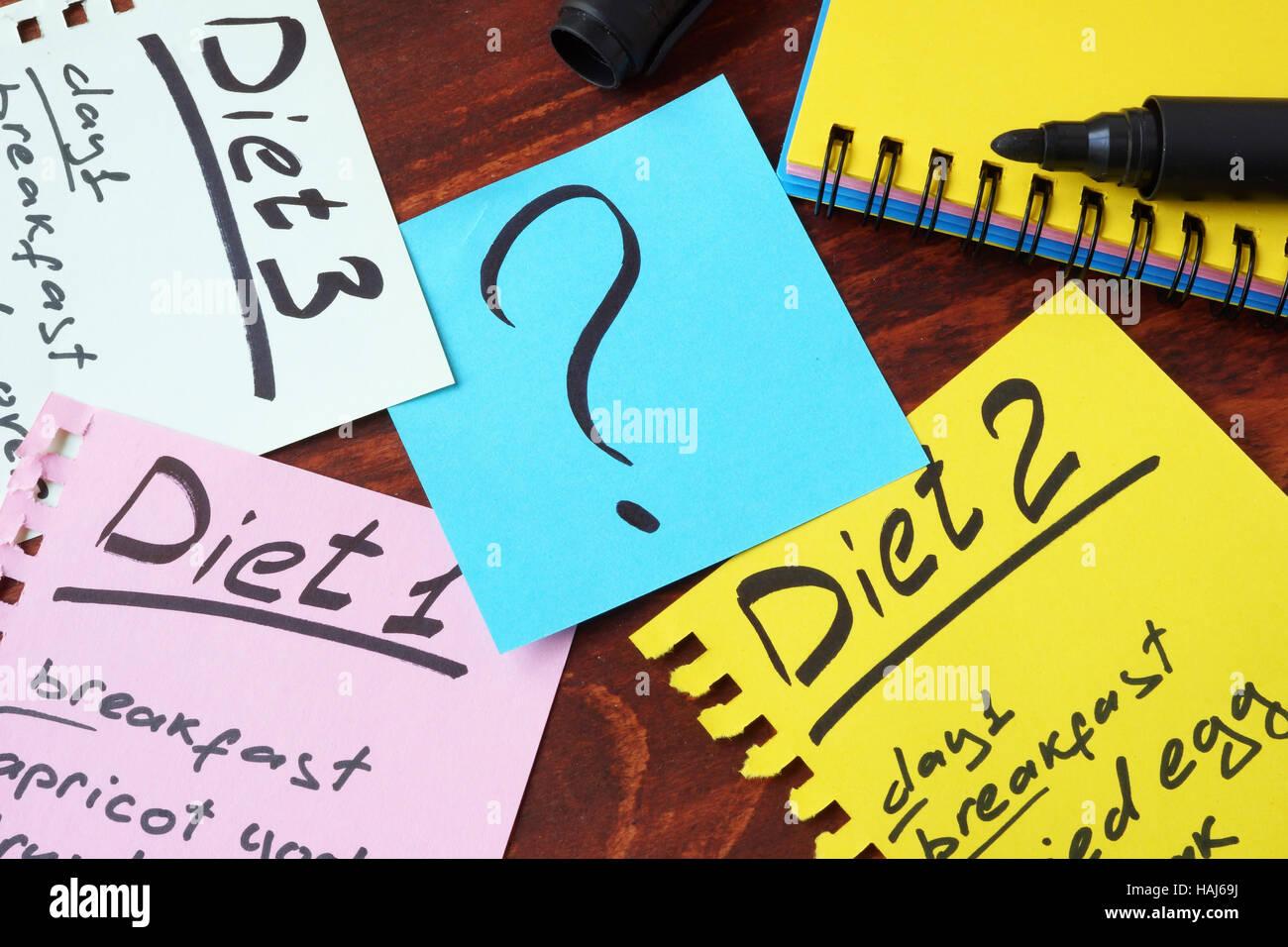 Diät-Pläne auf Seiten geschrieben. Gewicht-Verlust-Konzept. Stockbild