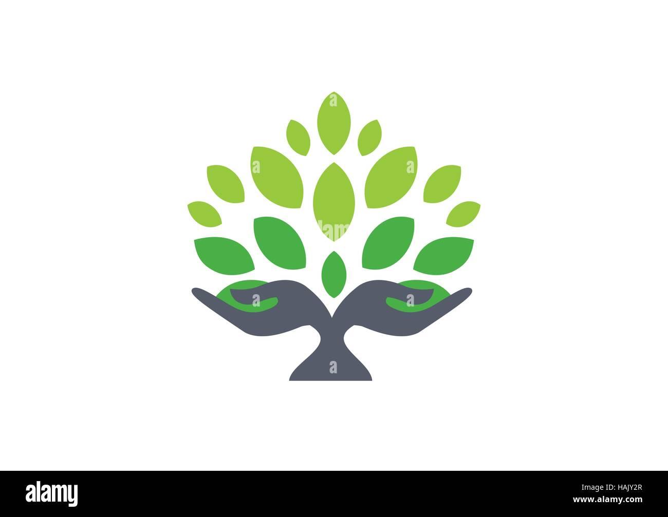 Baum-Hand-Logo, Baum Natur Wellness Konzept Gesundheit Symbol Handsymbol, Baum und Hand Illustration Vektor Vorlage Stockbild