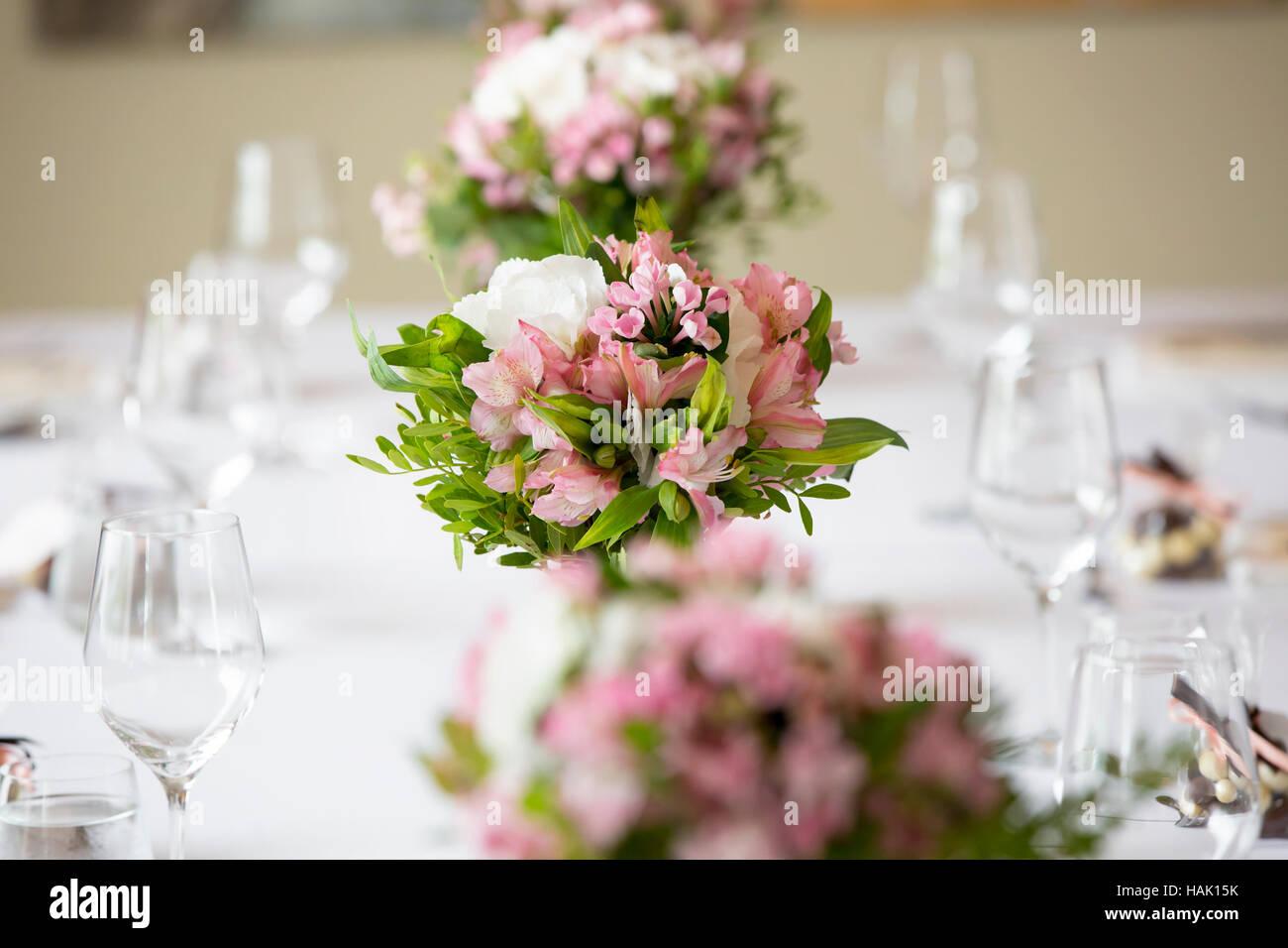 Blumendekoration Hochzeit Bankett Tisch In Einem Restaurant