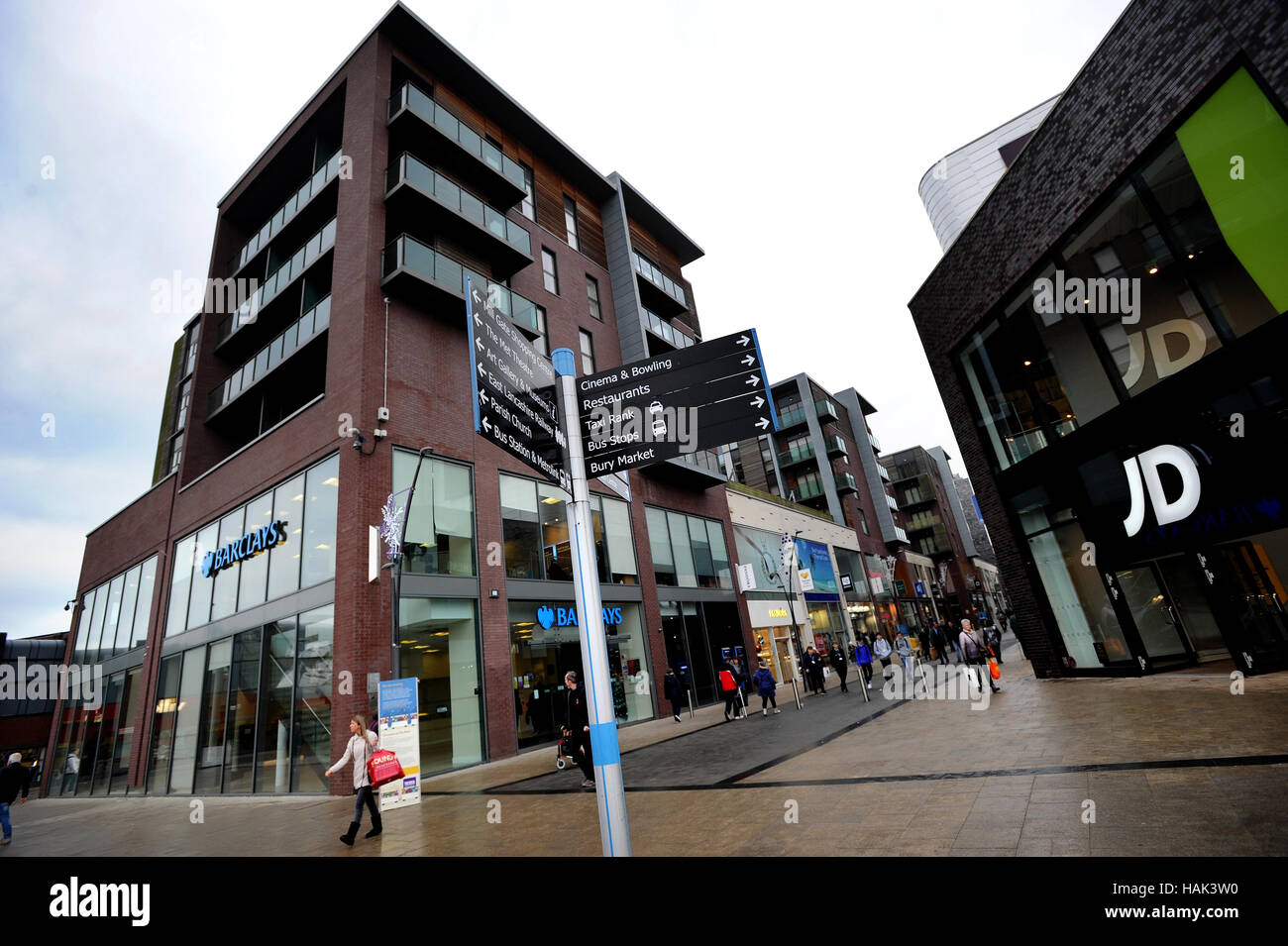 Der Rock, Einkaufs- und Unterhaltungsmöglichkeiten Veranstaltungsort, Bury, Lancashire. Bild von Paul Heyes, Stockbild