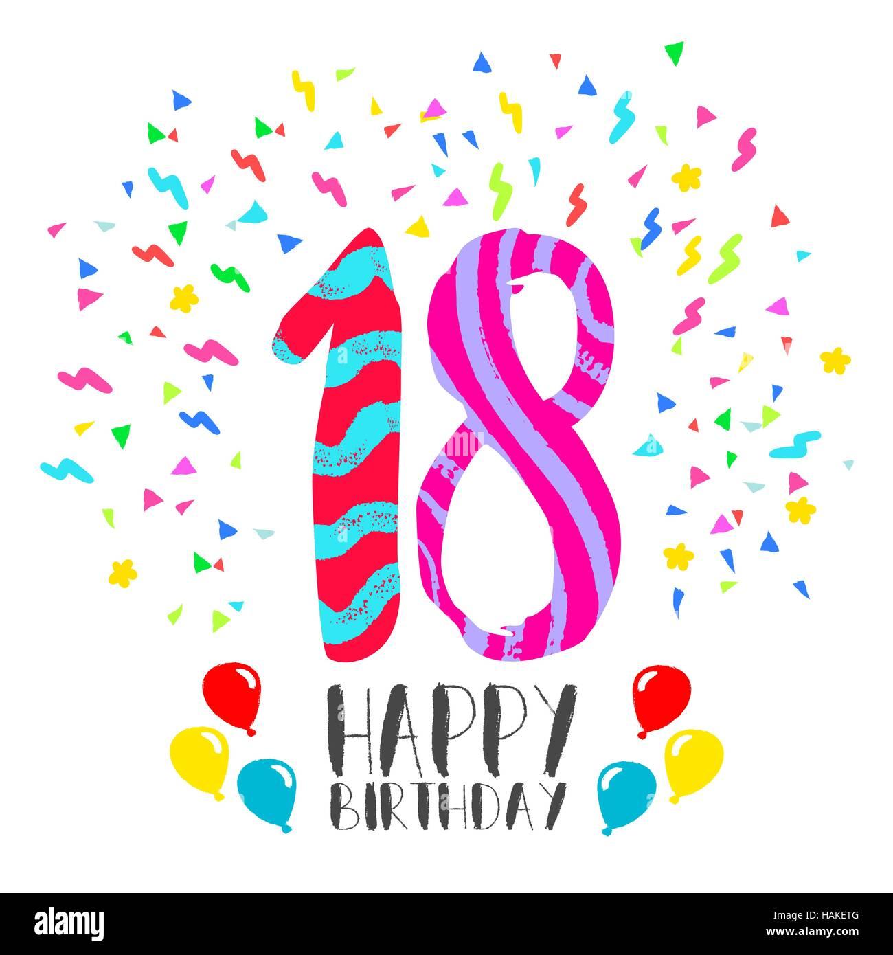 Alles Gute zum Geburtstag Nummer 18, Grußkarte für achtzehn Jahre in ...