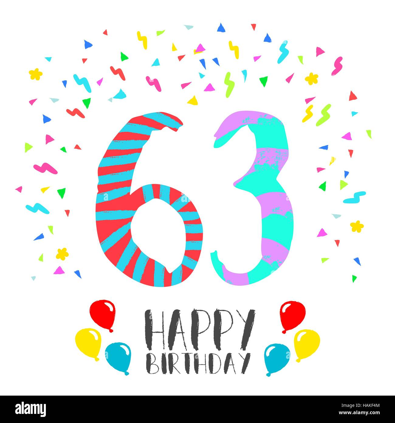 Alles Gute Zum Geburtstag Nr 63 Grußkarte Für Dreiundsechzig Jahre