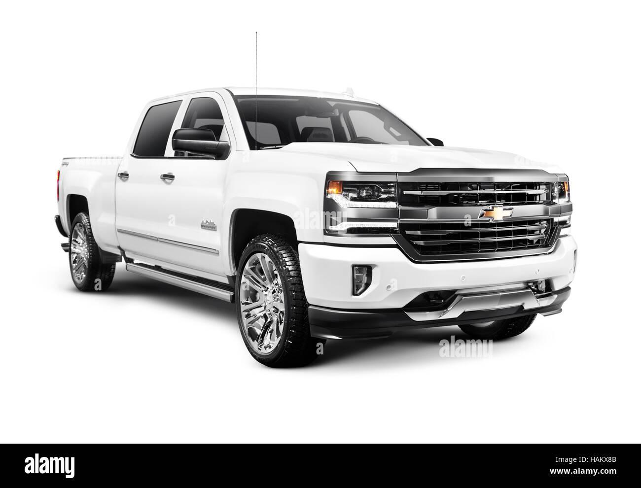 Weisse 2017 Chevrolet Silverado 1500 Pickup Mit High Country Trimmen