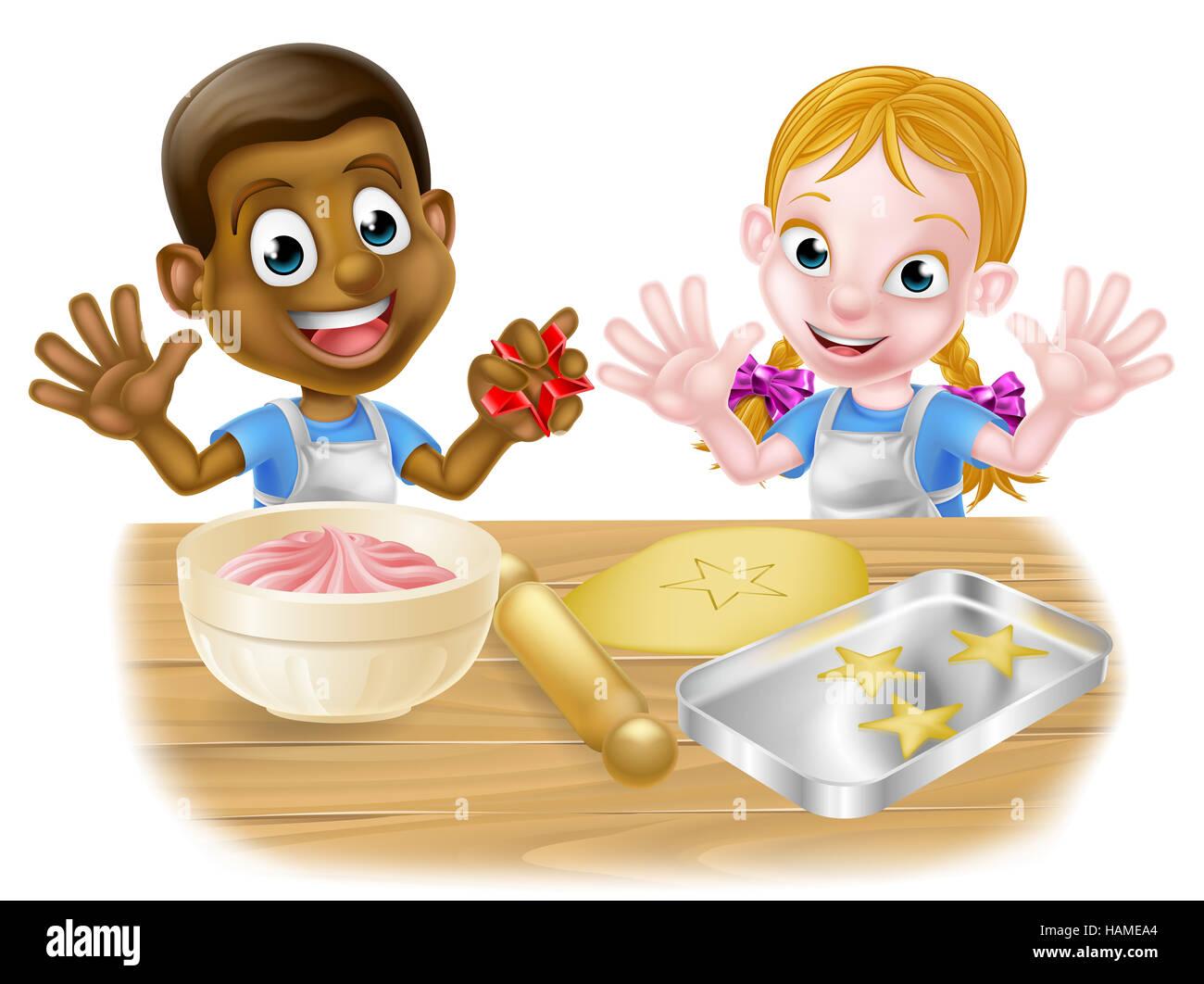 Cartoon junge und m dchen kinder koch b cker eine for Weisse kuchen bilder