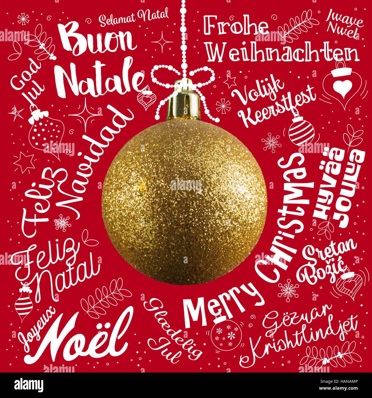 Weihnachtsgrüße In Verschiedenen Sprachen.Frohe Weihnachten Grußkarte Aus Welt In Verschiedenen Sprachen Mit