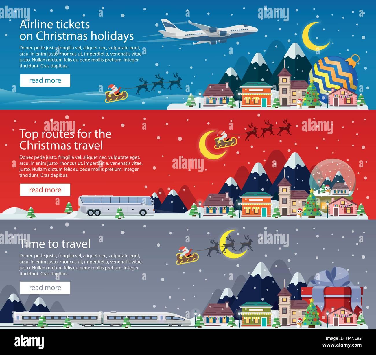 Frohe Weihnachten Flugzeug.Frohe Weihnachten Banner Im Flachen Stil Reisen Mit