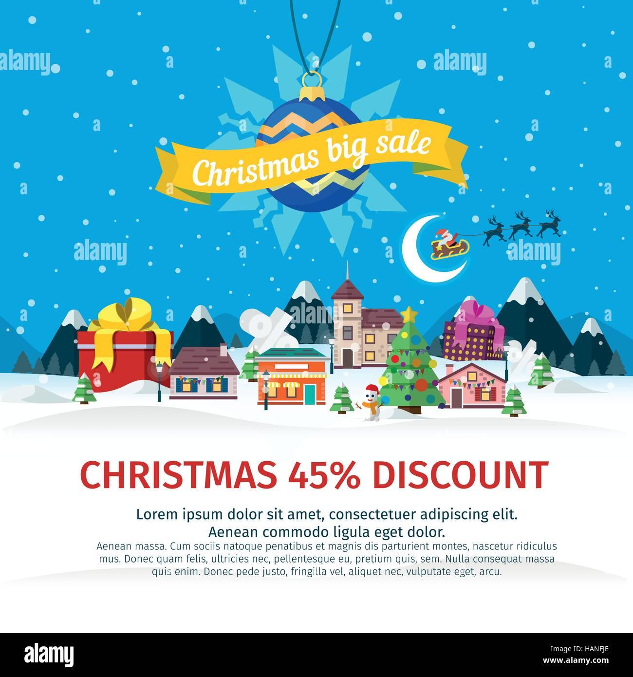 Großer Weihnachtsverkauf flach Banner. Vektor-Illustration für die ...