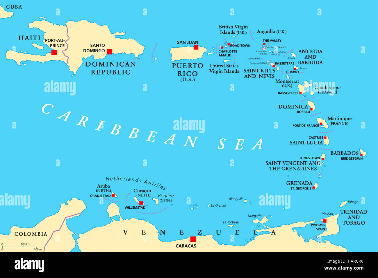 Politische Karte der kleinen Antillen Der Cariben mit Haiti der