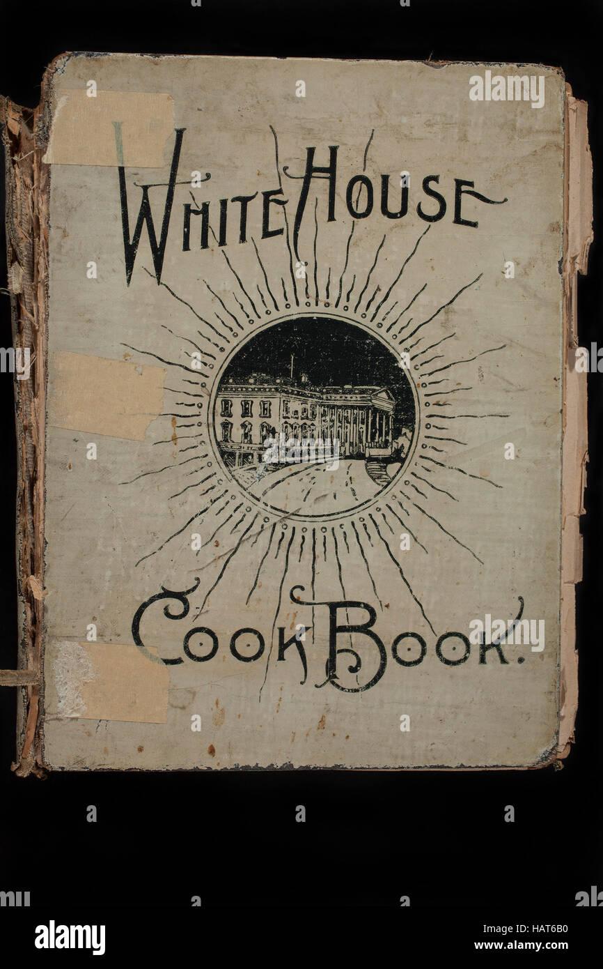 Eine gut gebrauchte Kochbuch: The White House-Kochbuch, geschrieben im Jahre 1887 und die Frauen des US-Präsidenten Stockbild