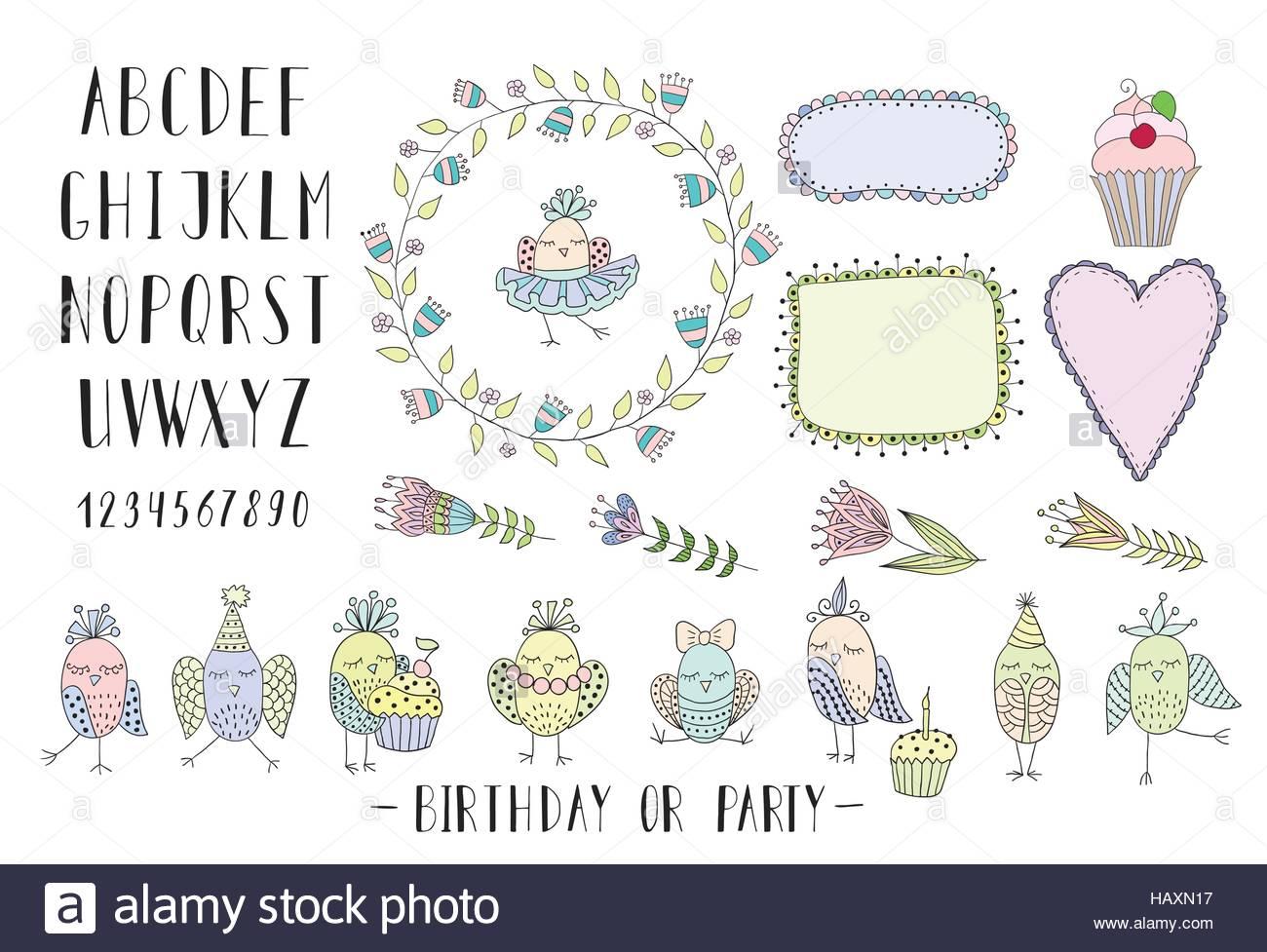 Elemente zum Erstellen von Grußkarten, Einladungen für Geburtstag ...
