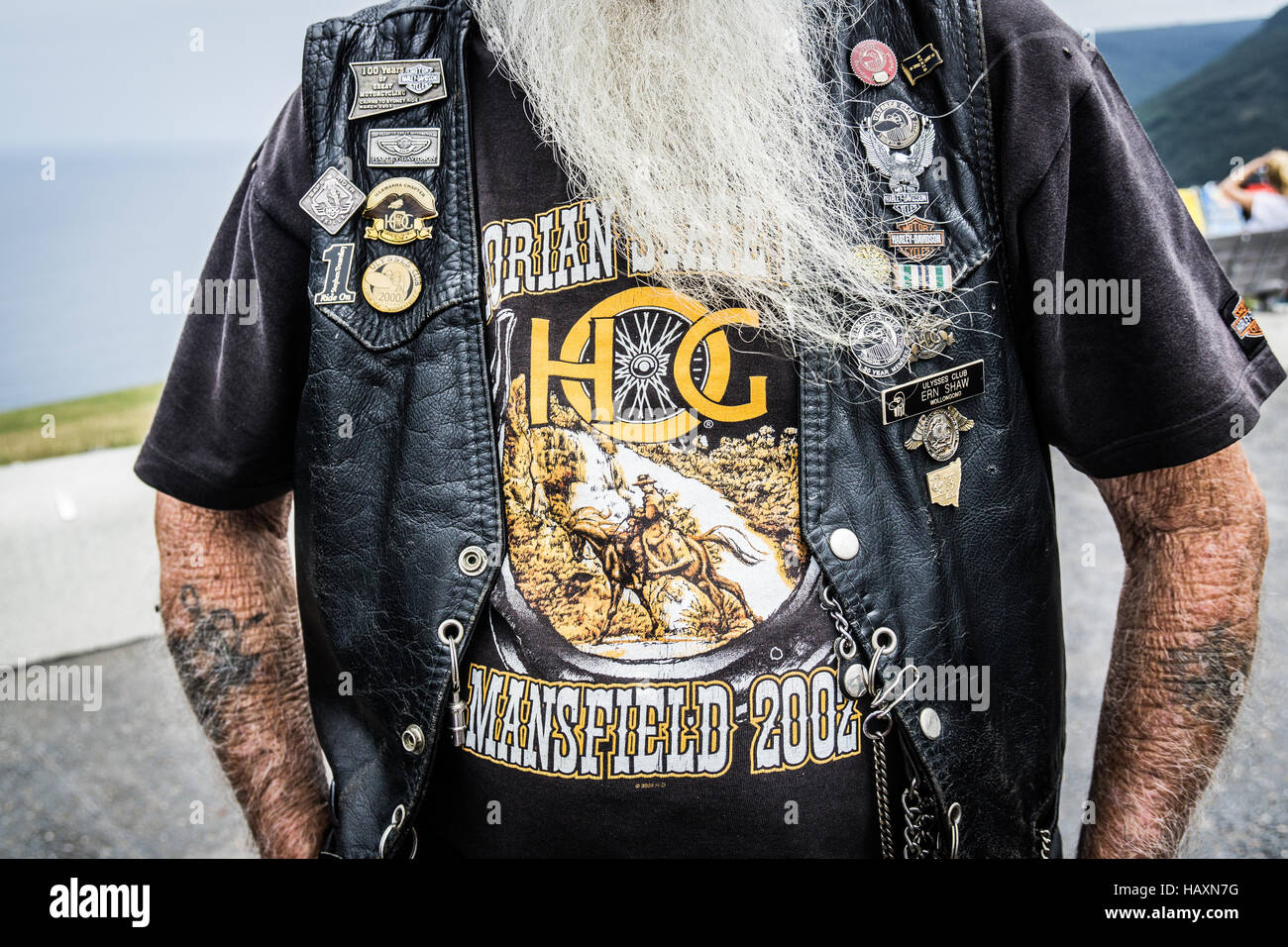 Ein Australien-Harley Davidson-Fahrer.  Dieser Mann mit langem Bart war ein Mitglied der Ulyssees-Club Stockbild