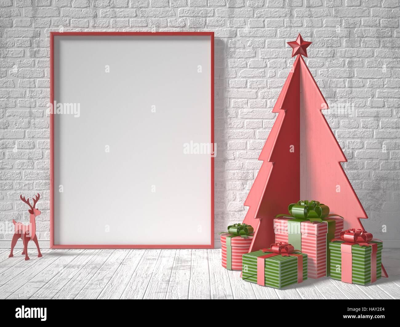 Mock Up Leeren Bilderrahmen Weihnachtsbaum Dekoration Und Geschenke