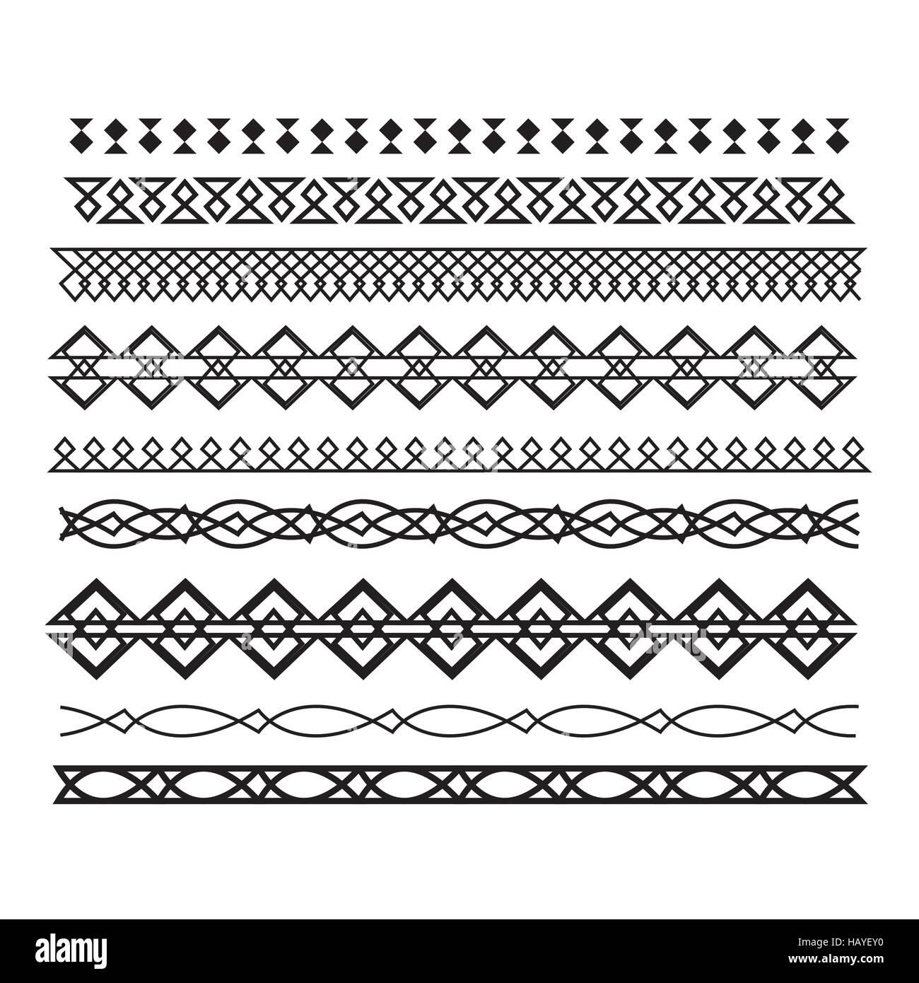 Satz von Vektor Rahmen und Linien. horizontale geometrische ele ...
