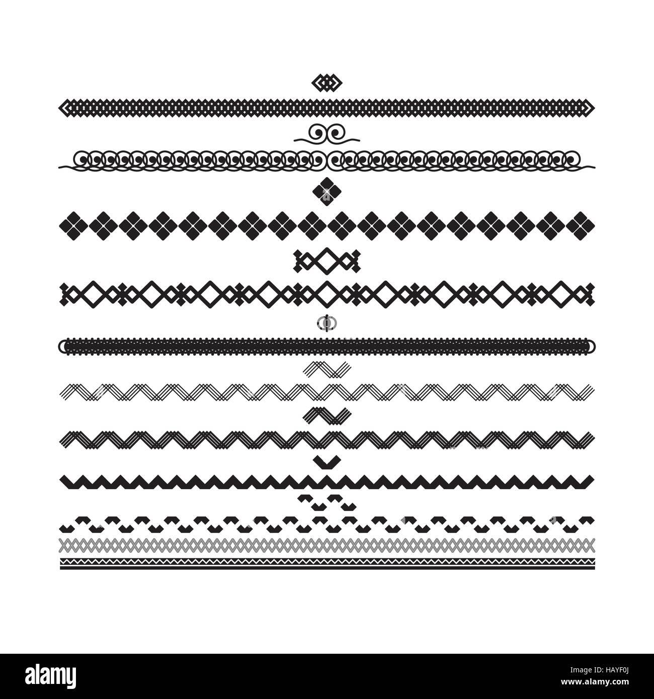 Satz von Vektor Rahmen und Linien. Geometrische Elemente des Designs ...