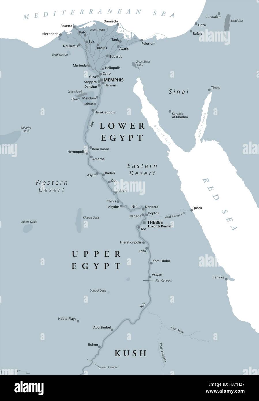Karte ägypten Nil.Alten ägypten Karte Mit Wichtigen Sehenswürdigkeiten Sinai