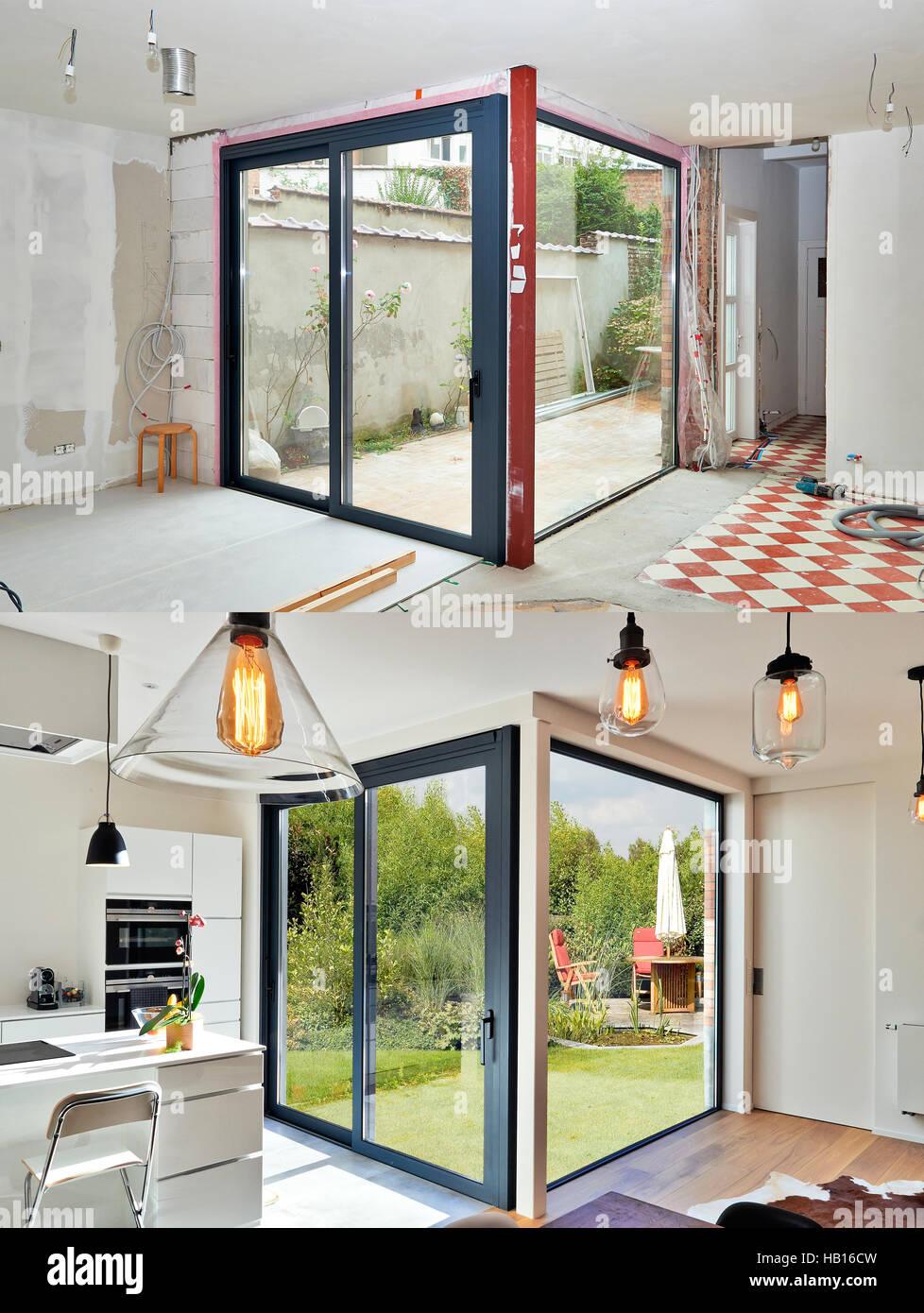 Umbau auf eine moderne Luxus-Küche mit Schiebetür vor und ...