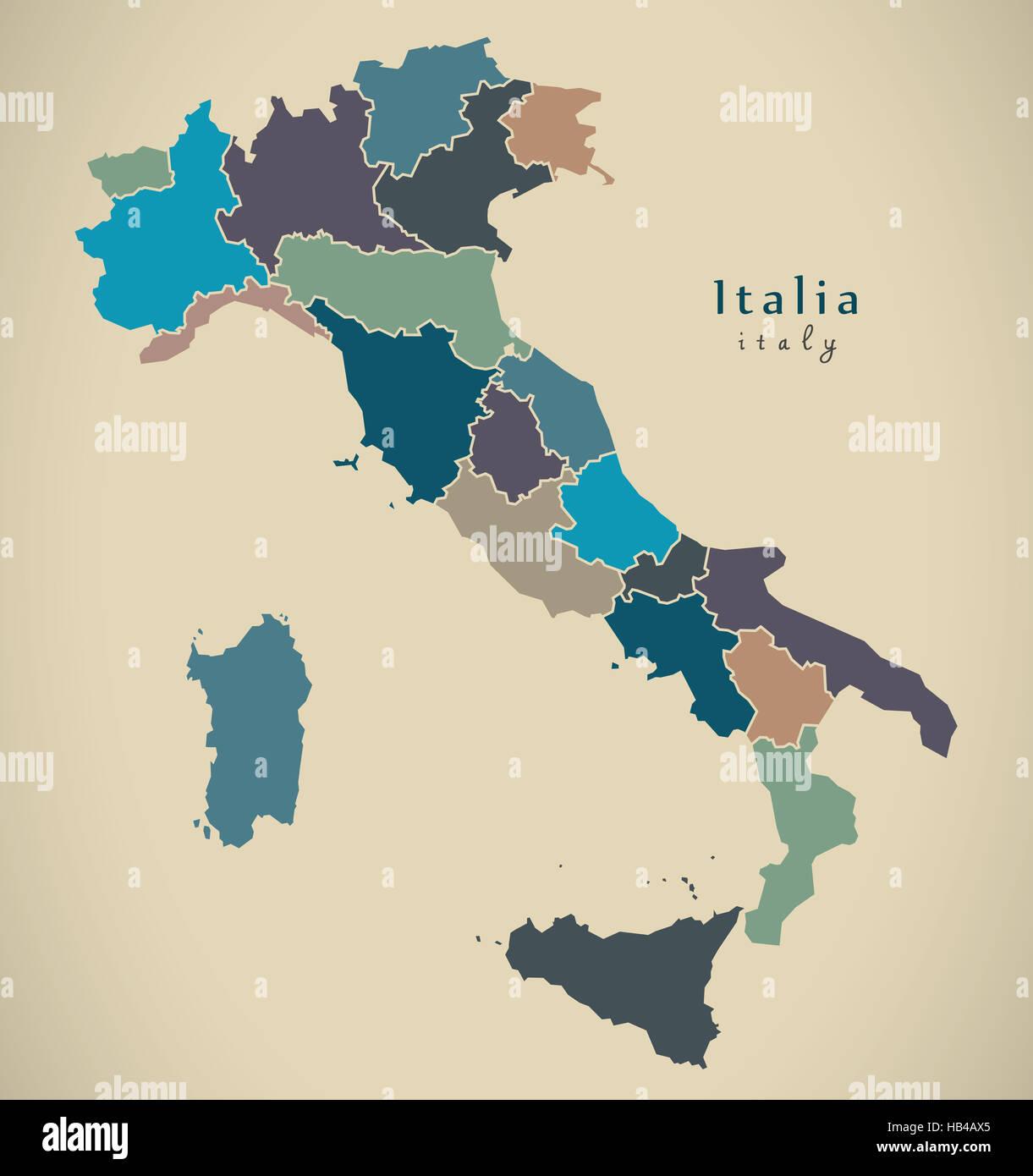 Karte Italien Regionen.Moderne Karte Italien Mit Den Regionen It Stockfoto Bild