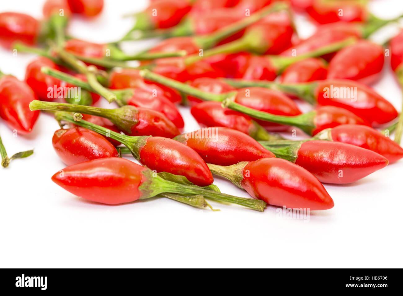 Haufen von Reife rote Paprika Piri-Piri Stockbild