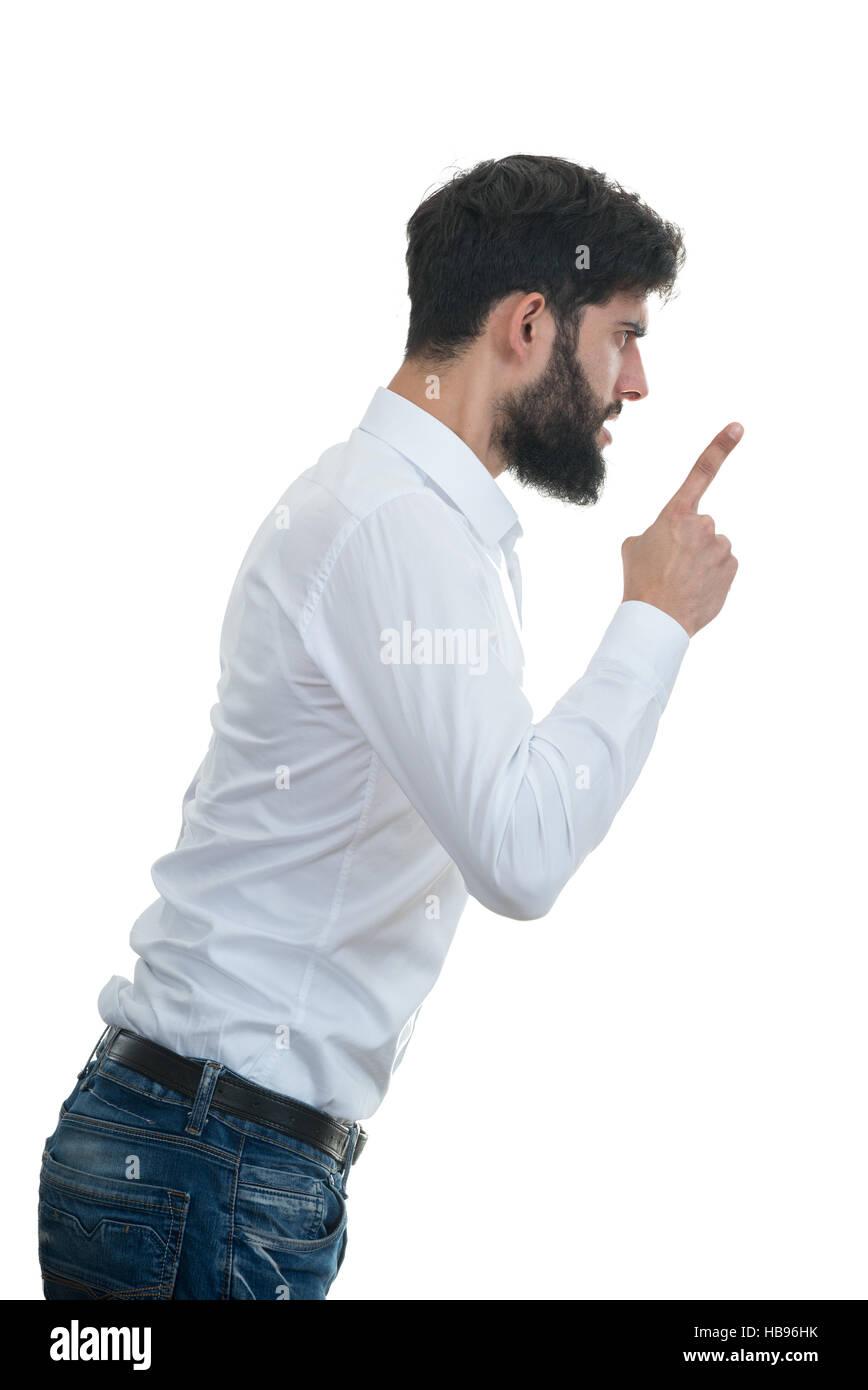 Seitenansicht des jungen Mannes mit offenem Mund. isoliert auf weißem Hintergrund Stockbild