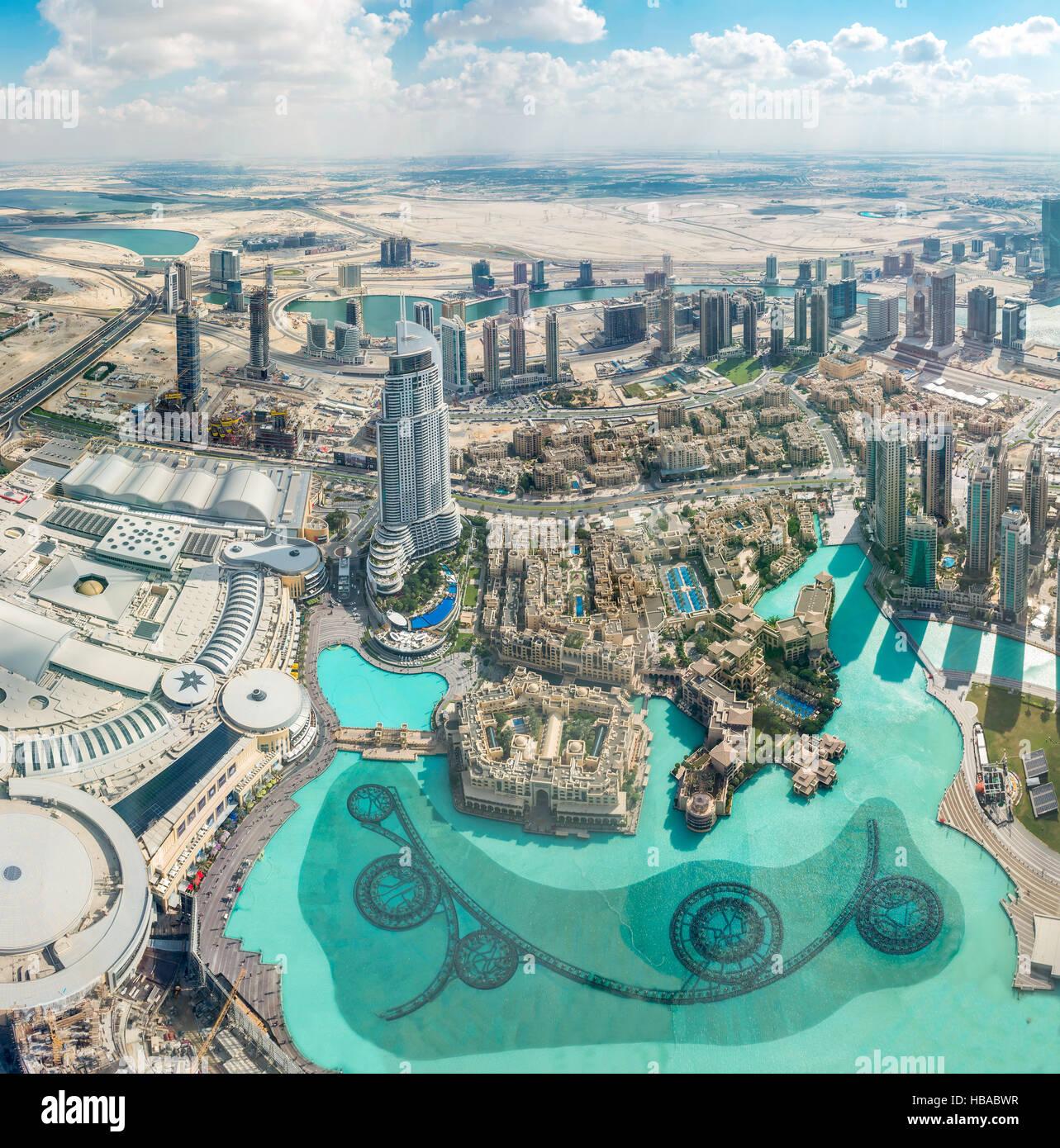 Luftaufnahme von Dubai (Vereinigte Arabische Emirate) Stockbild