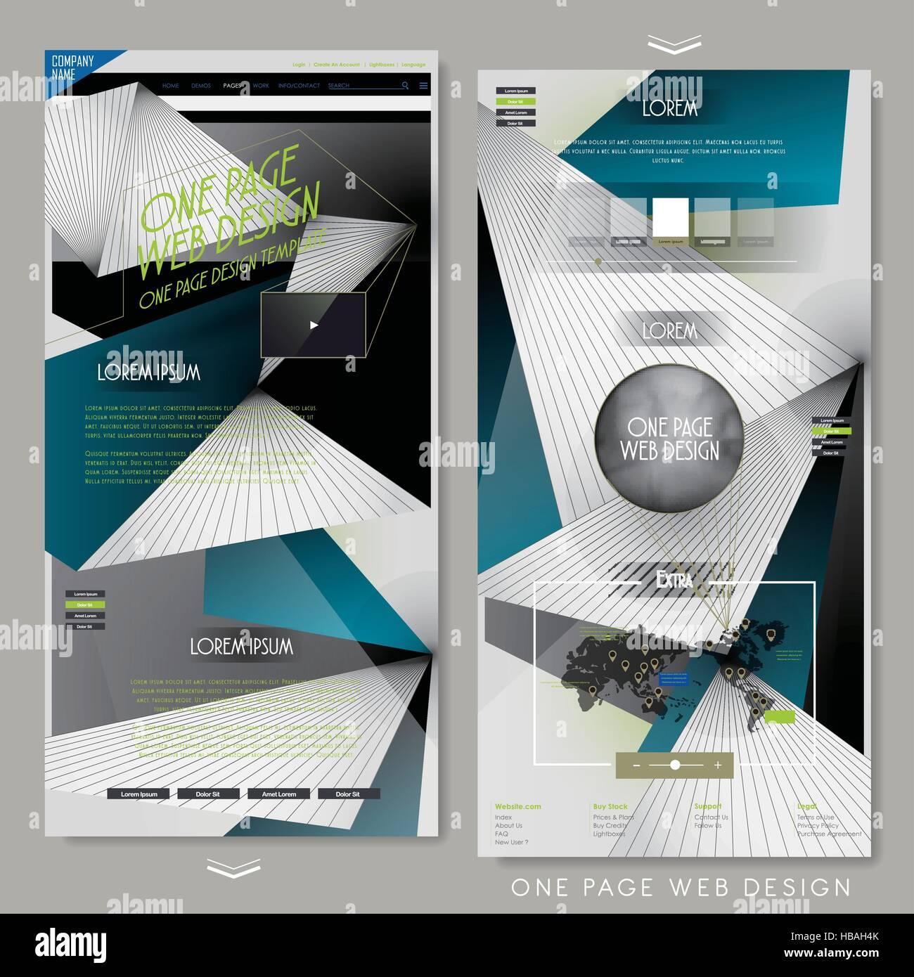 zeitgenössische einseitige Vorlage Webdesign mit geometrischen ...