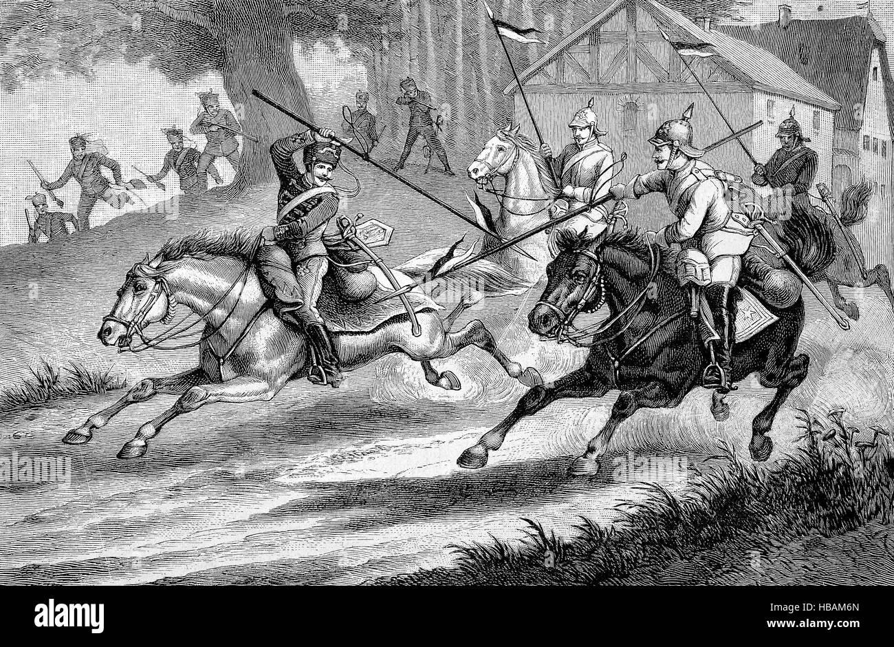 Lanze bewaffnet preußischen Husaren und Kürassiere, historische Illustration von 1880 Stockbild