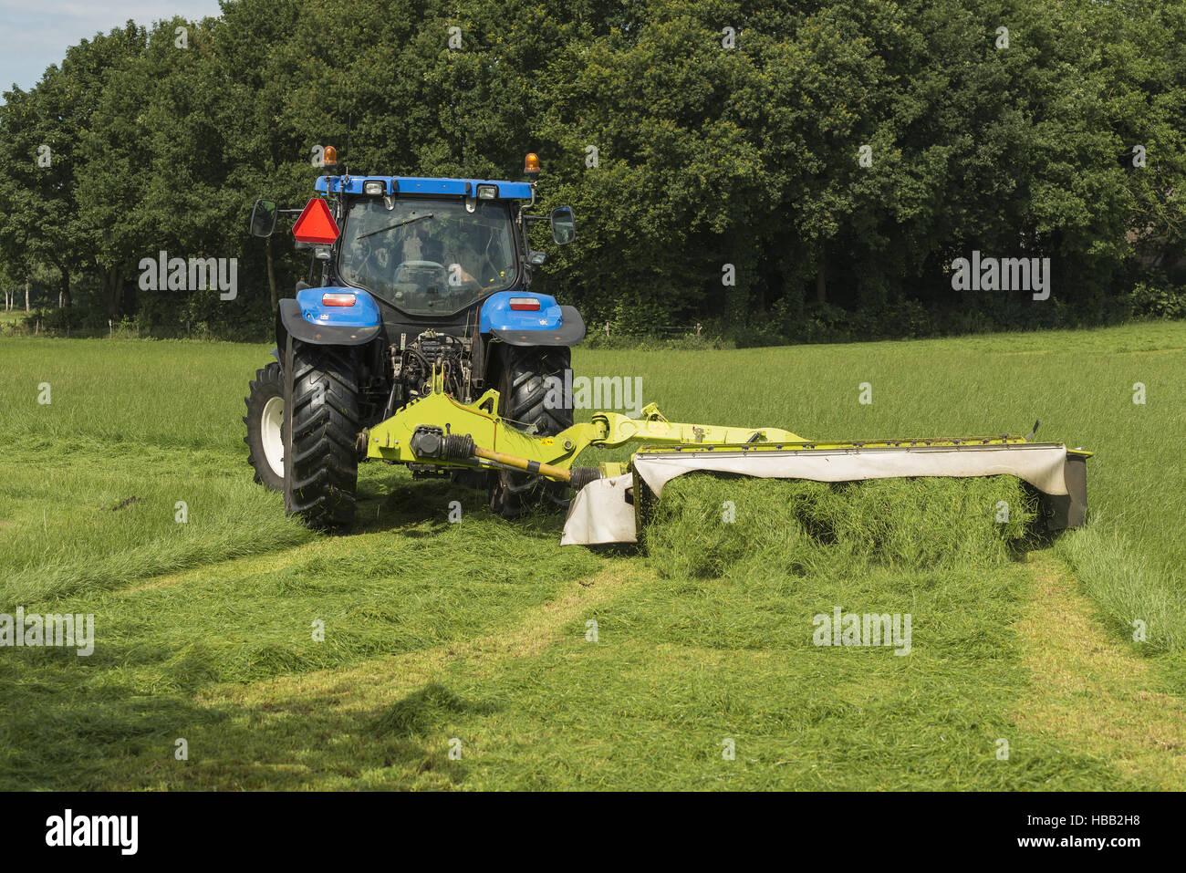 Atemberaubend Weide Mähen mit blauen Traktor und Mähwerk Stockfoto, Bild #SY_73