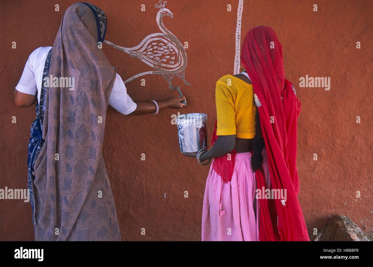 Inde Rajasthan Dorf Des Environs De Tonk Cette Femme