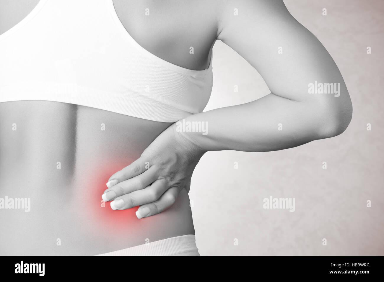 Schmerzen im Rücken Stockbild