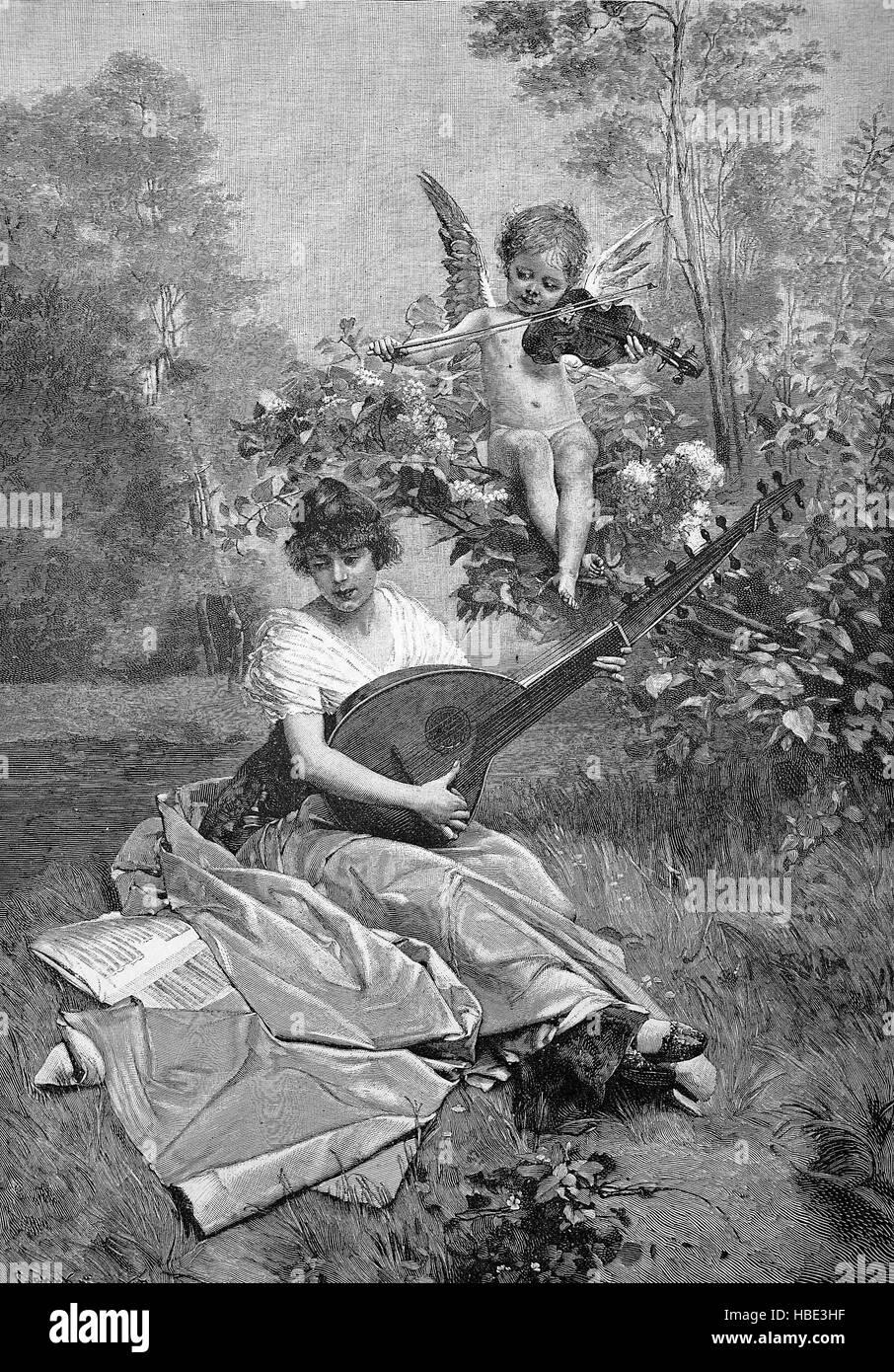 Symbolik für ein Liebeslied, Frau mit einer Laute im Garten, oben ist ein Engel mit Violine, Romantik des 19. Stockbild