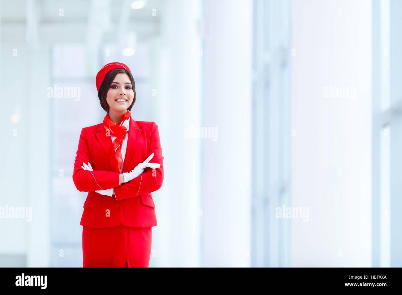 Attraktive stewardess Stockbild