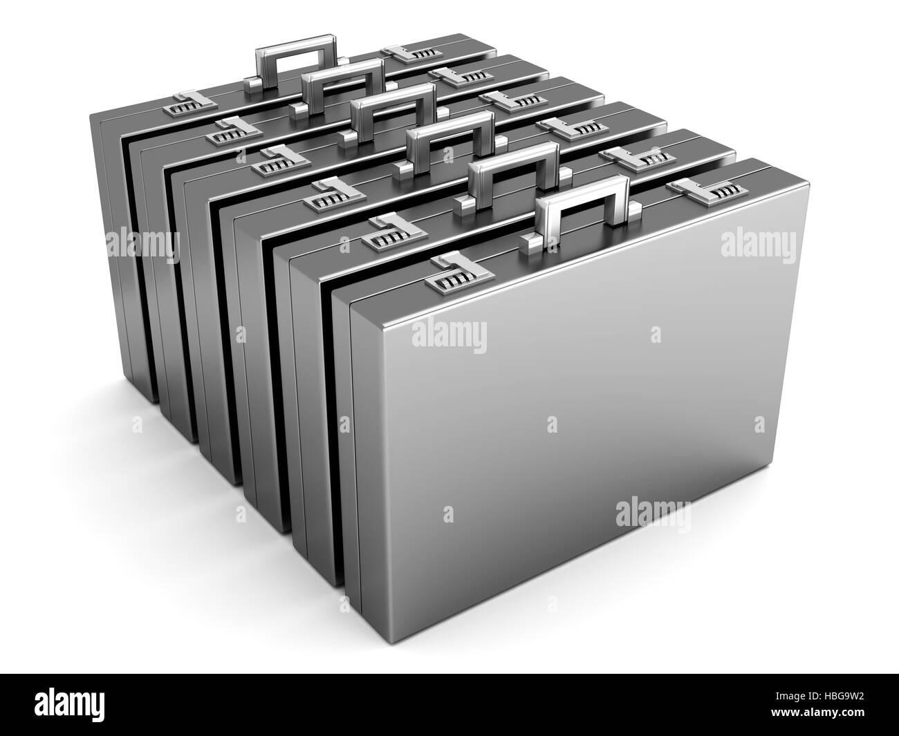 Eine Reihe von Aktentaschen Stockbild