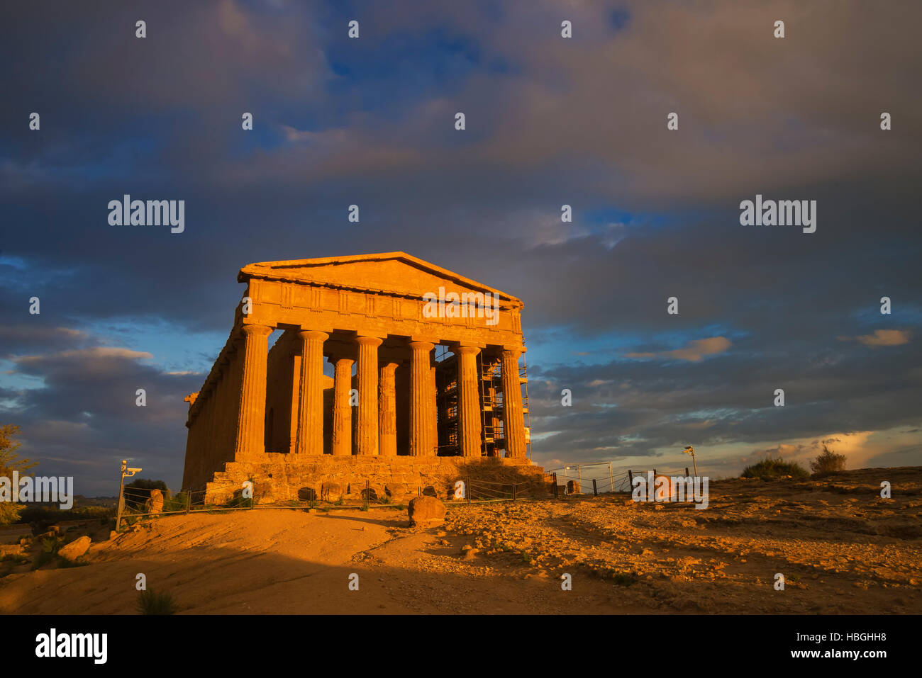 Tempel der Concordia, Valley of the Temples, Agrigento, Sizilien, Italien Stockbild