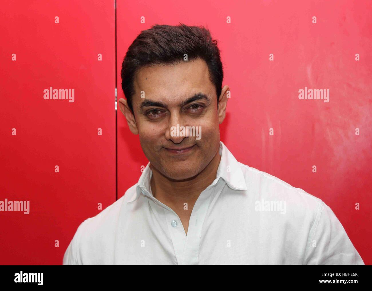 Bollywood Schauspieler Aamir Khan bei der Förderung der Film pk in Mumbai, Indien - SMS-355194 Stockbild