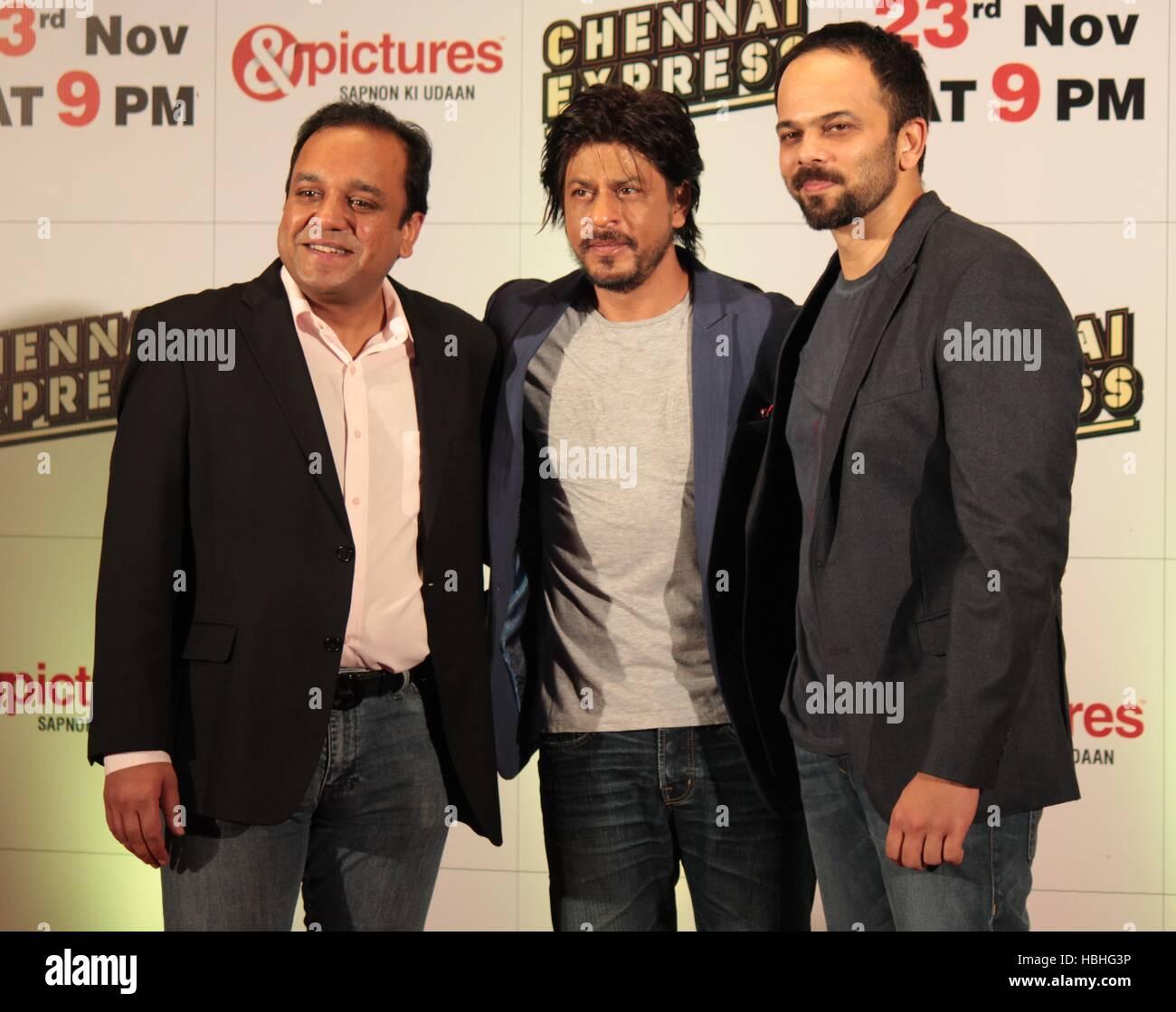 Punit Goenka Zee Entertainment Unternehmen begrenzt Shah Rukh Khan Rohit Shetty Zee TV party Film Chennai Express Stockbild