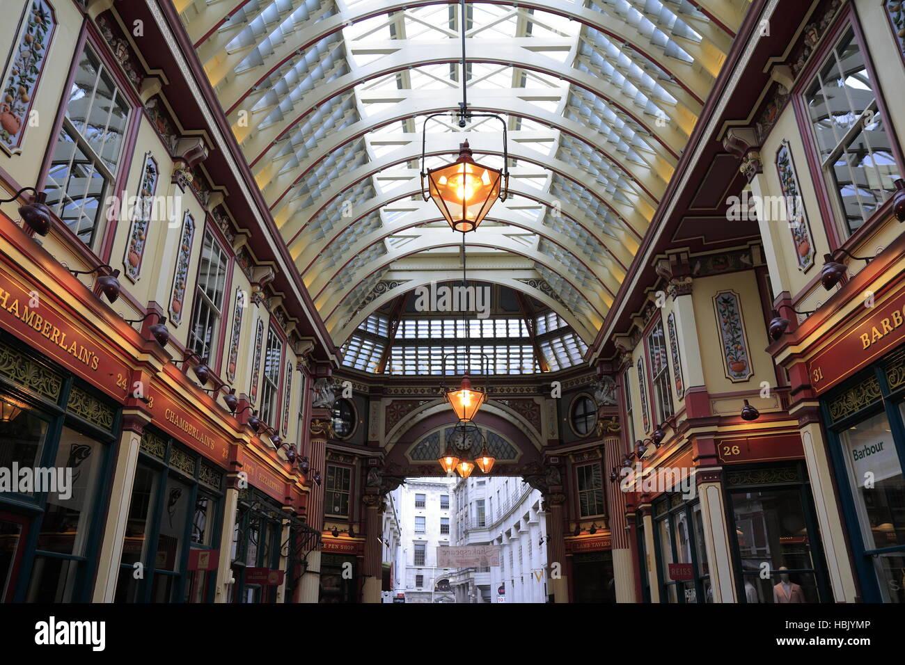 Leadenhall Markt abgedeckt Einkaufspassage Stockbild