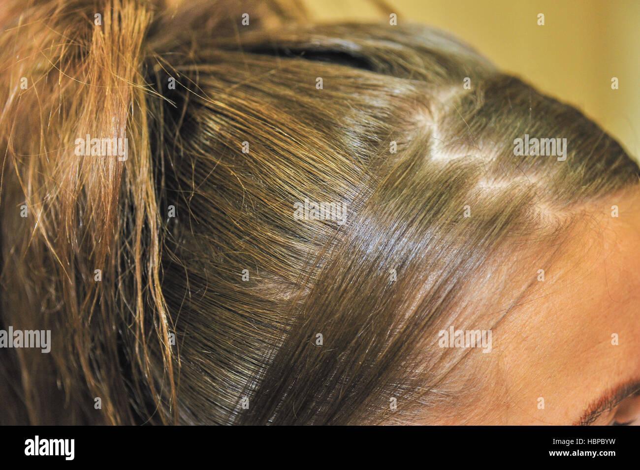 Anspruchsvolle Frisur für eine Hochzeit Stockbild