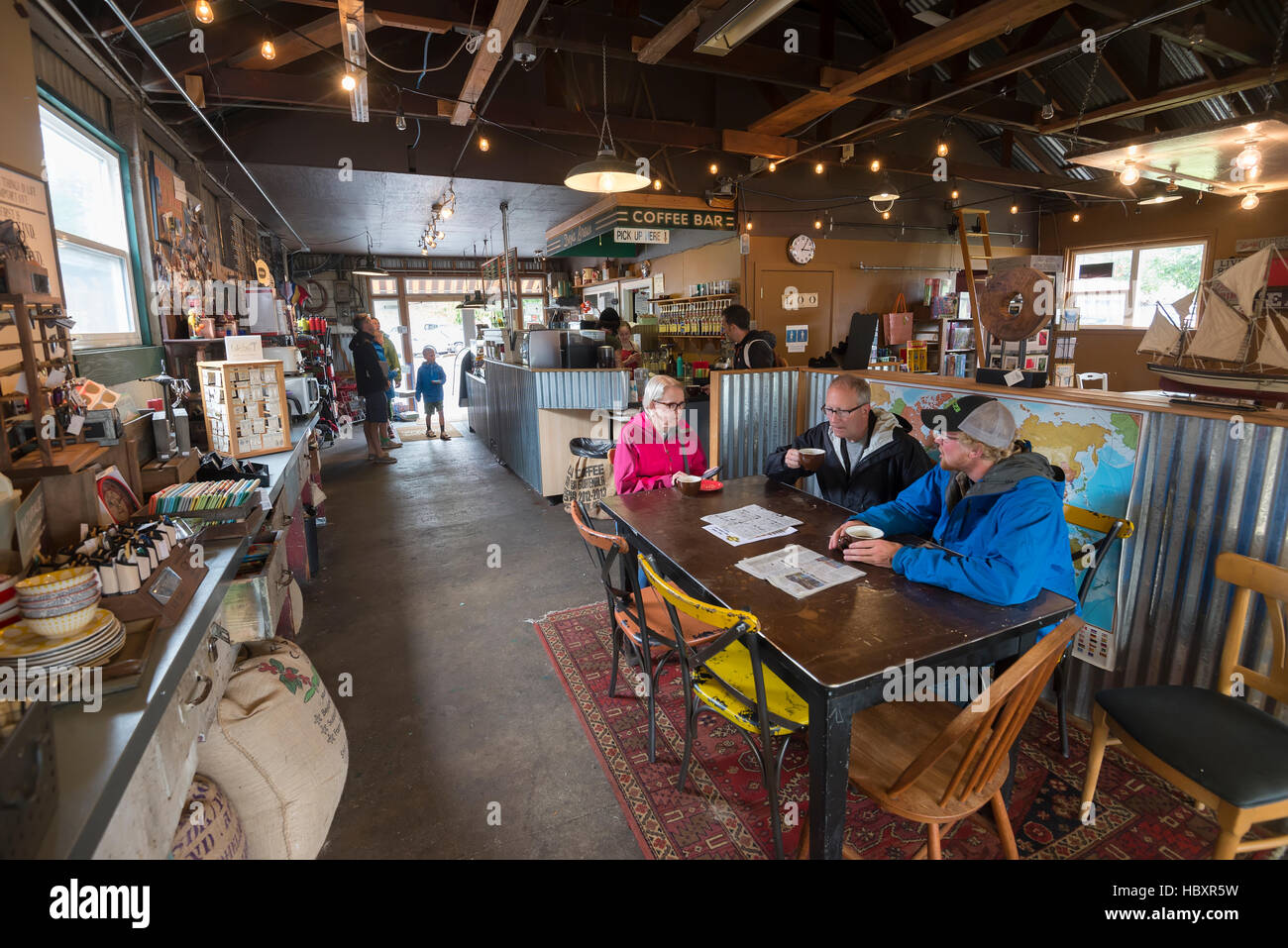 Siuslaw River Kaffeeröster in Florence, Oregon. Stockbild