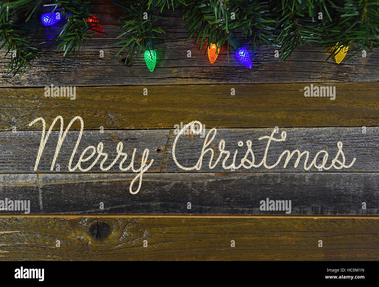 Frohe Weihnachten im Seil-Design mit leuchtenden Weihnachten Lichter ...