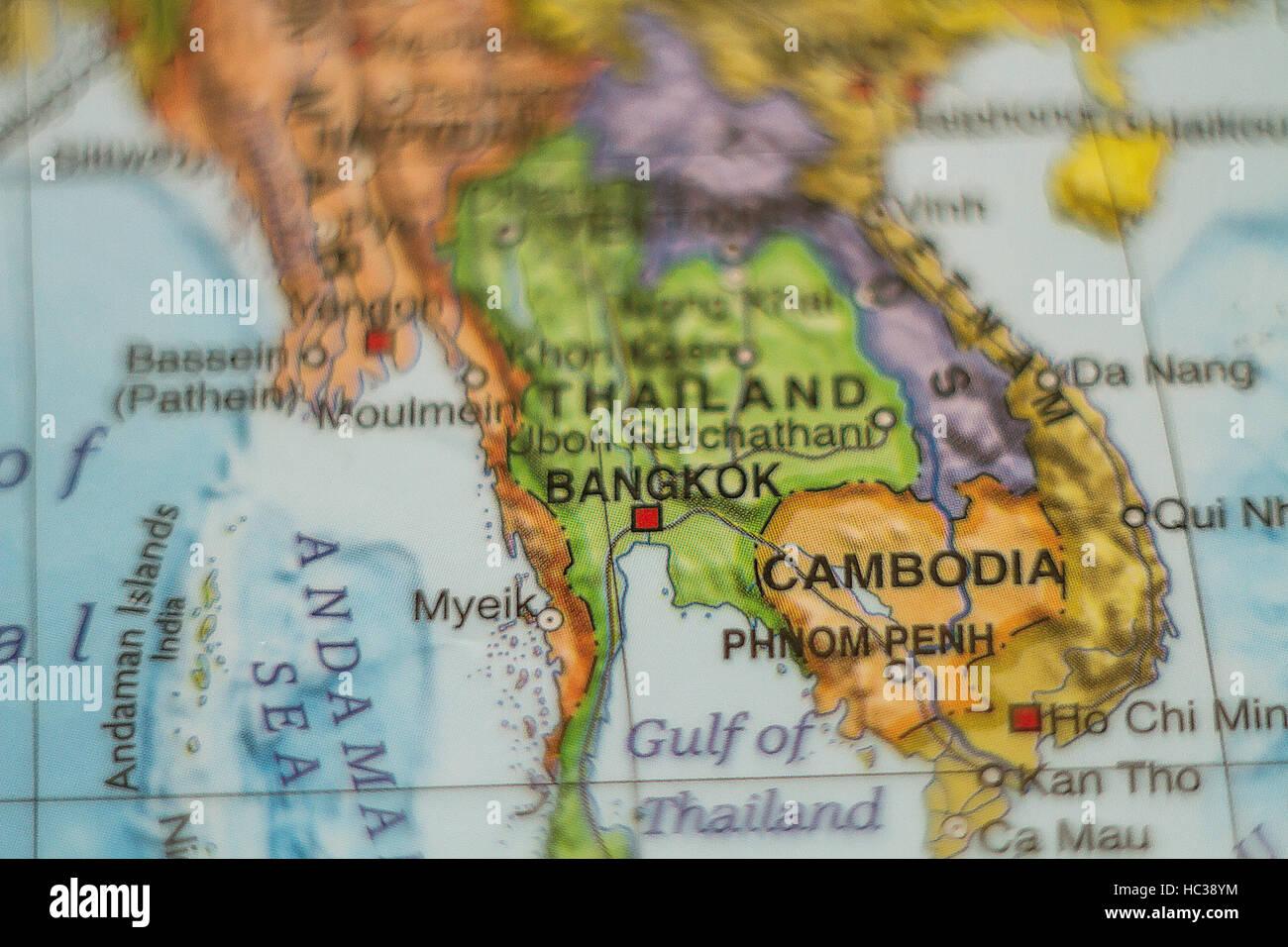 Karte Thailand Kambodscha.Foto Von Einer Karte Von Thailand Und Kambodscha Stockfoto Bild
