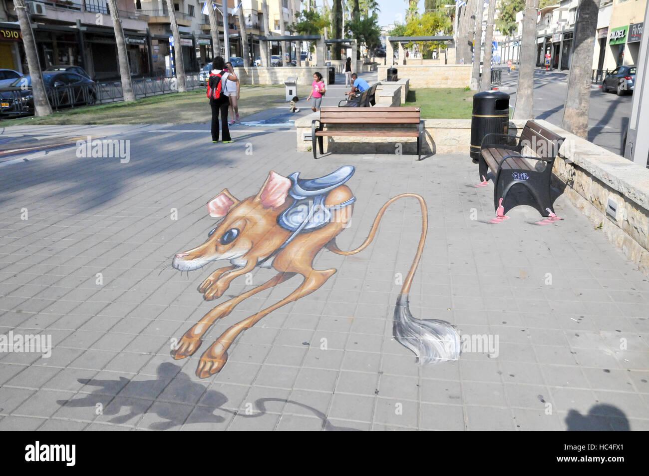3d Street Art Festival In Afula Israel Stockfoto Bild 127948745