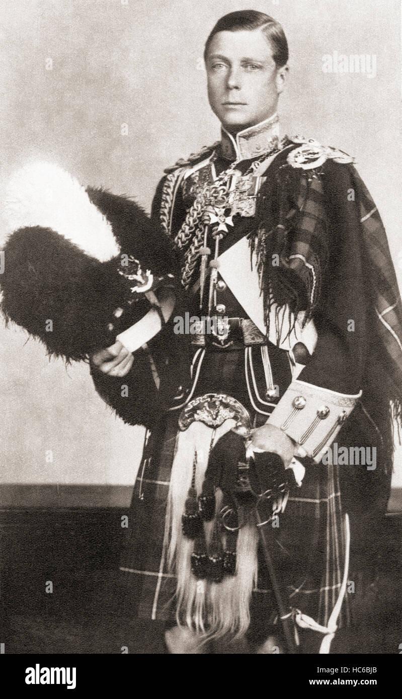Edward VIII, 1894 – 1972.  König des Vereinigten Königreichs und der Besitzungen des britischen Reiches und Kaiser von Indien, von 20. Januar 1936 bis zu seiner Abdankung am 11. Dezember des gleichen Jahres. Zu sehen hier als Oberst-in-Chief von The Seaforth Highlanders. Stockfoto
