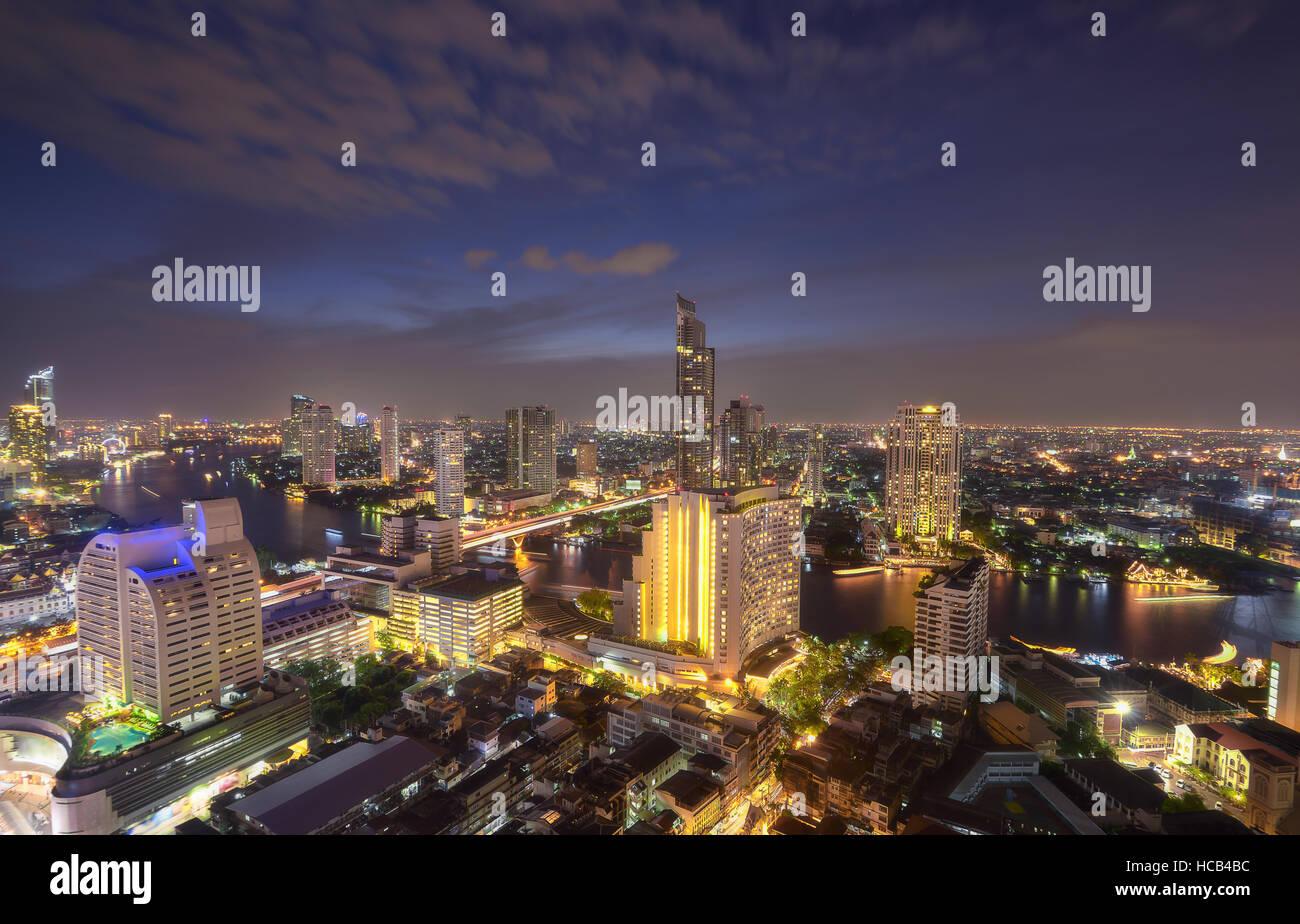 Skyline Blick Licht in Bangkok Stockbild