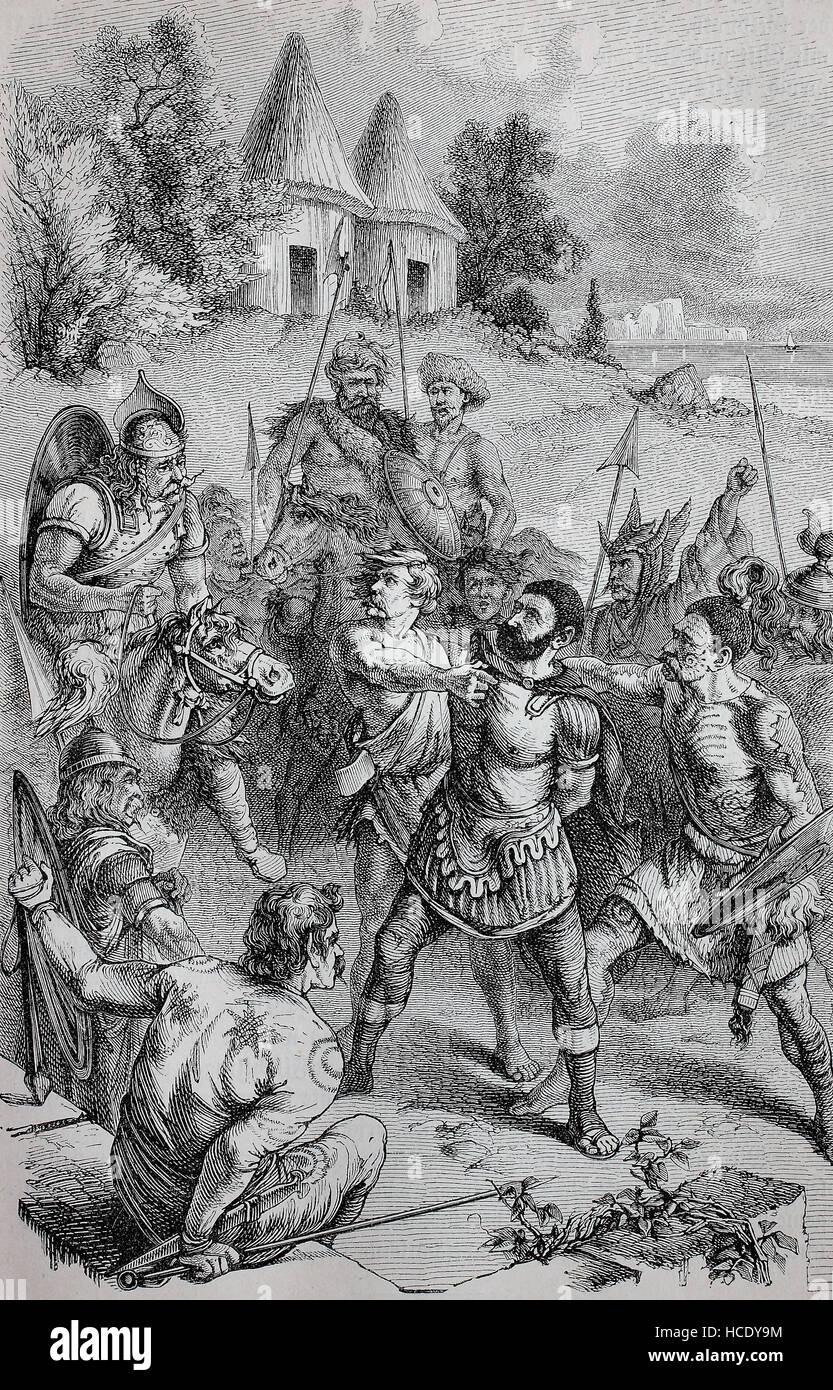 Häuptlinge aus Großbritannien haben einen römischen Zenturio, die Geschichte des antiken Rom, Römisches Stockbild