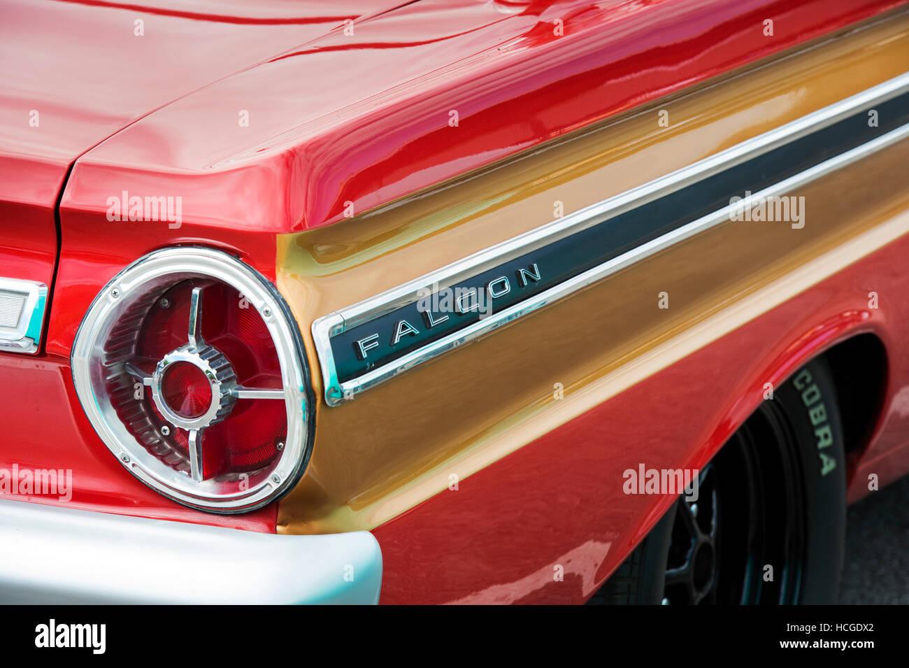 1965 Ford Falcon Auto Detail. Amerikanische Oldtimer Stockbild