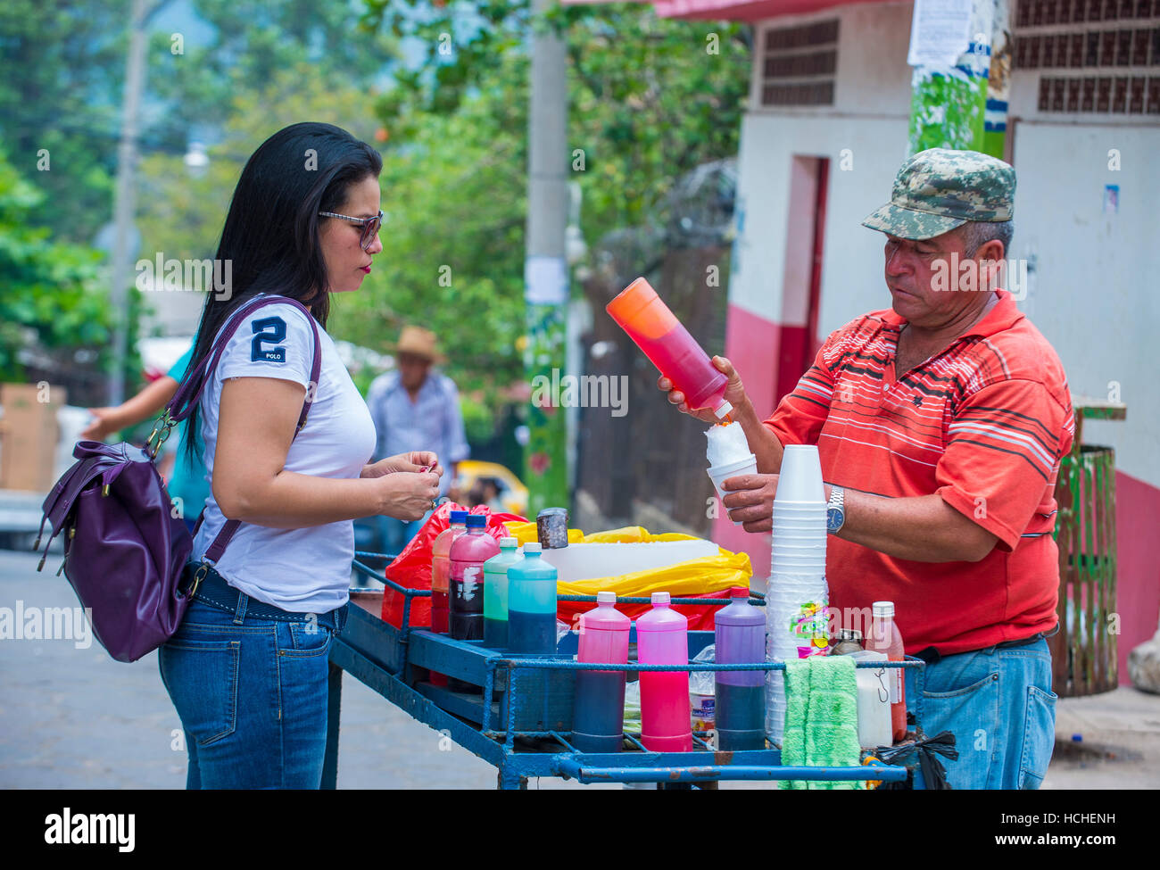 Rasiert Eis-Stand auf der Blume & Palm-Festival in Panchimalco, El Salvador Stockbild